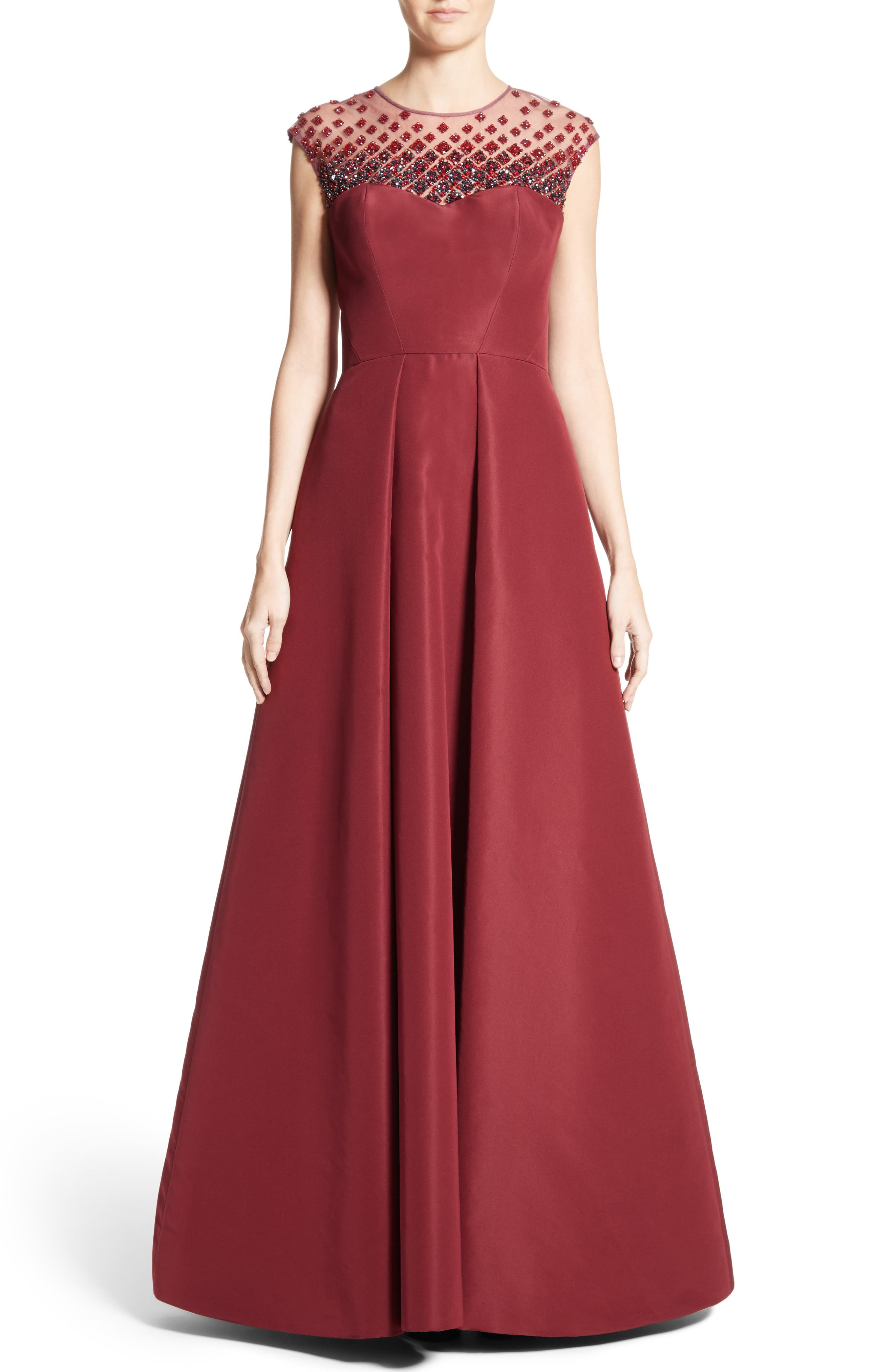 Beaded Silk Faille Gown,                         Main,                         color, Red