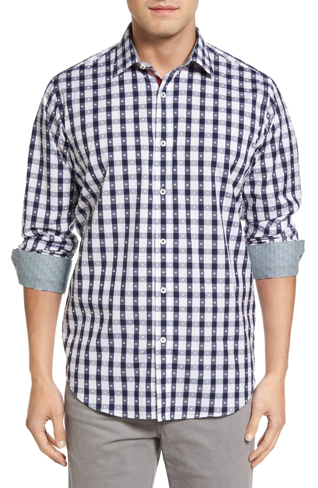 Classic Fit Dot & Gingham Check Sport Shirt,                         Main,                         color, Navy