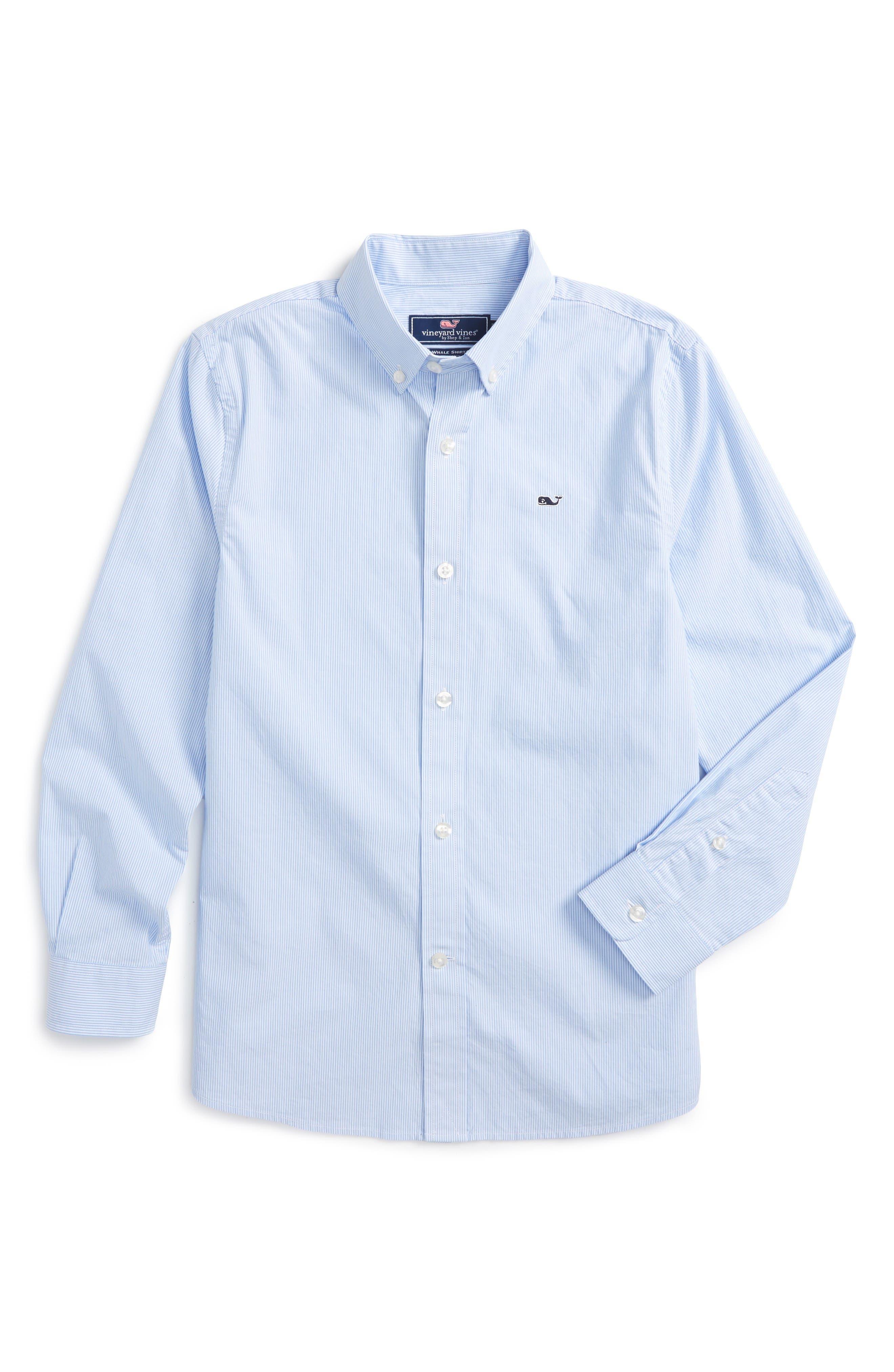 Main Image - Vineyard Vines Fine Line Stripe - Whale Woven Shirt (Big Boys)