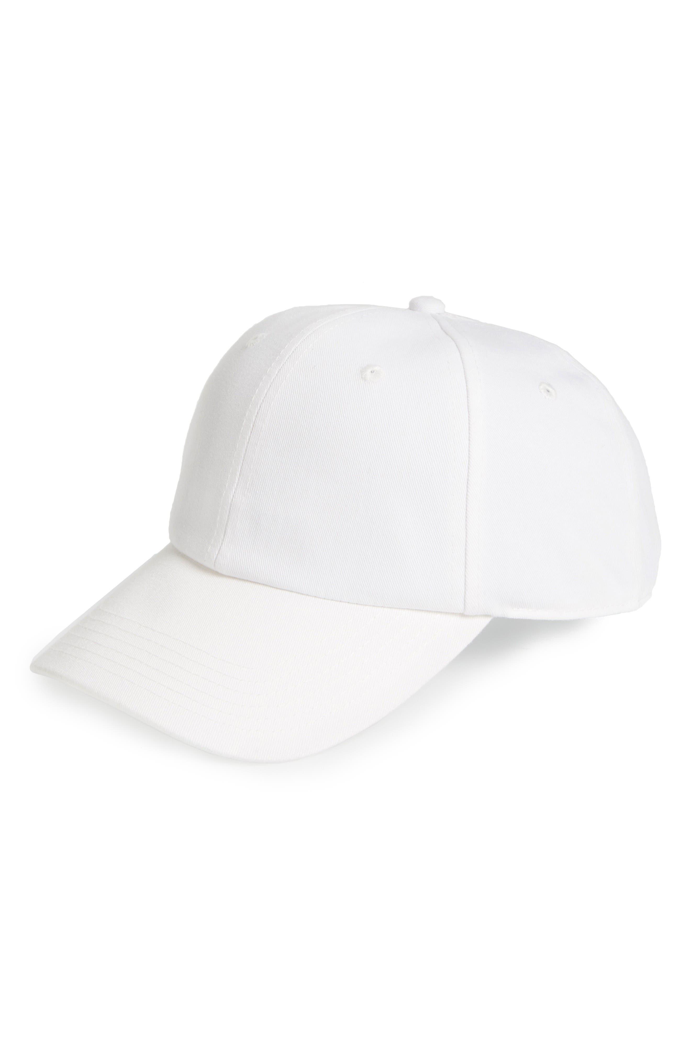 Canvas Baseball Cap,                         Main,                         color, White