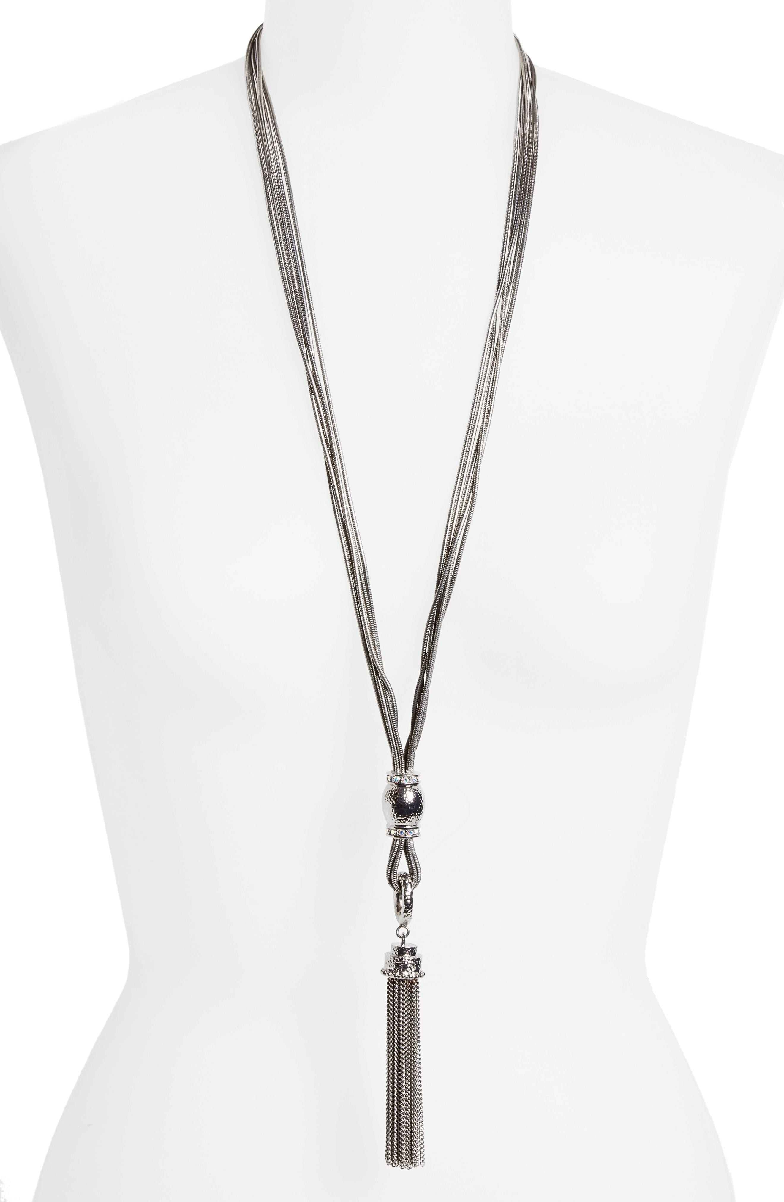 Alternate Image 2  - St. John Collection Swarovski Crystal Tassel Necklace