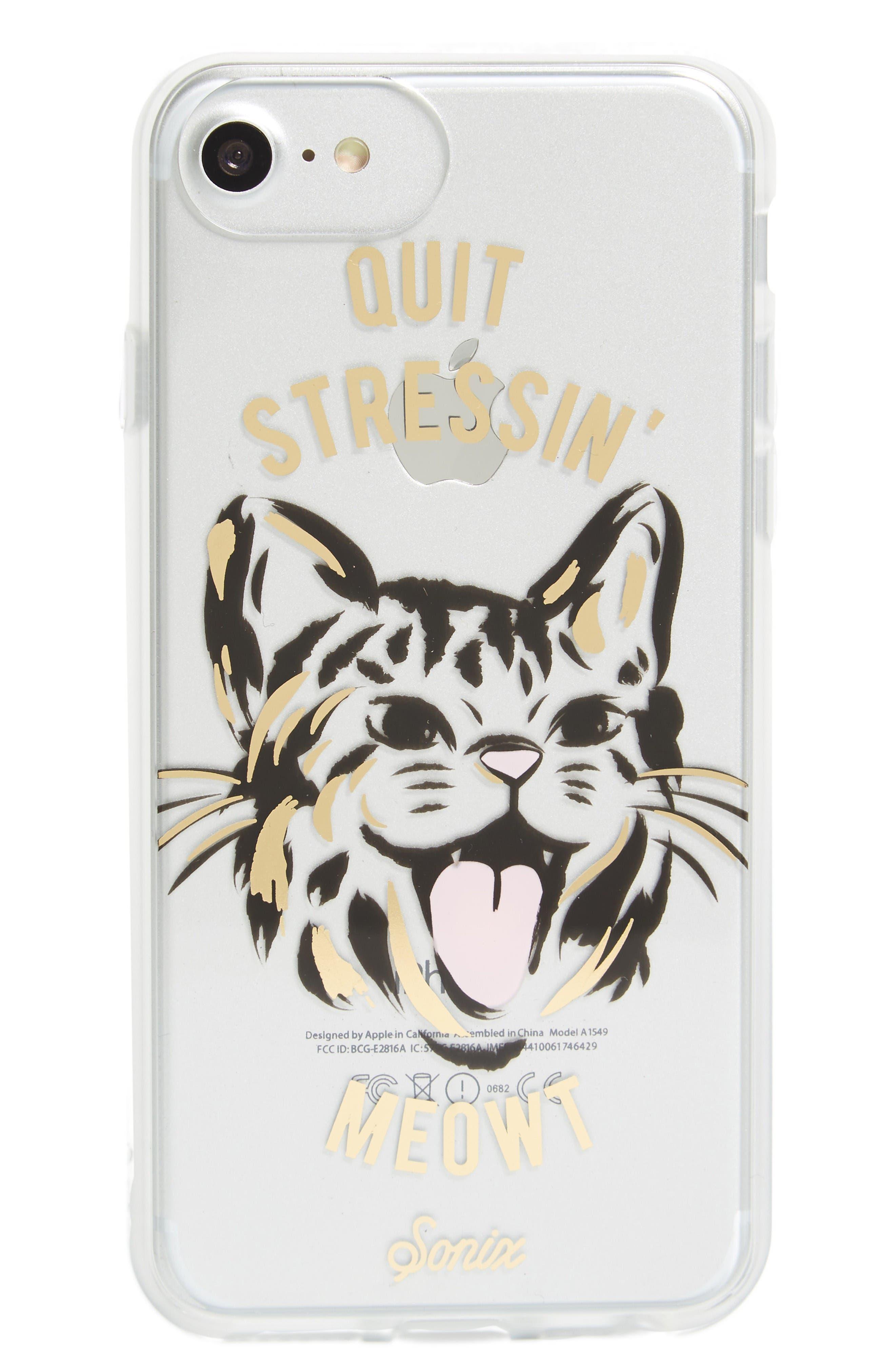 Quit Stressin' Meowt iPhone 6/6s/7/8 & 6/6s/7/8 Plus Case,                             Main thumbnail 1, color,                             Gold
