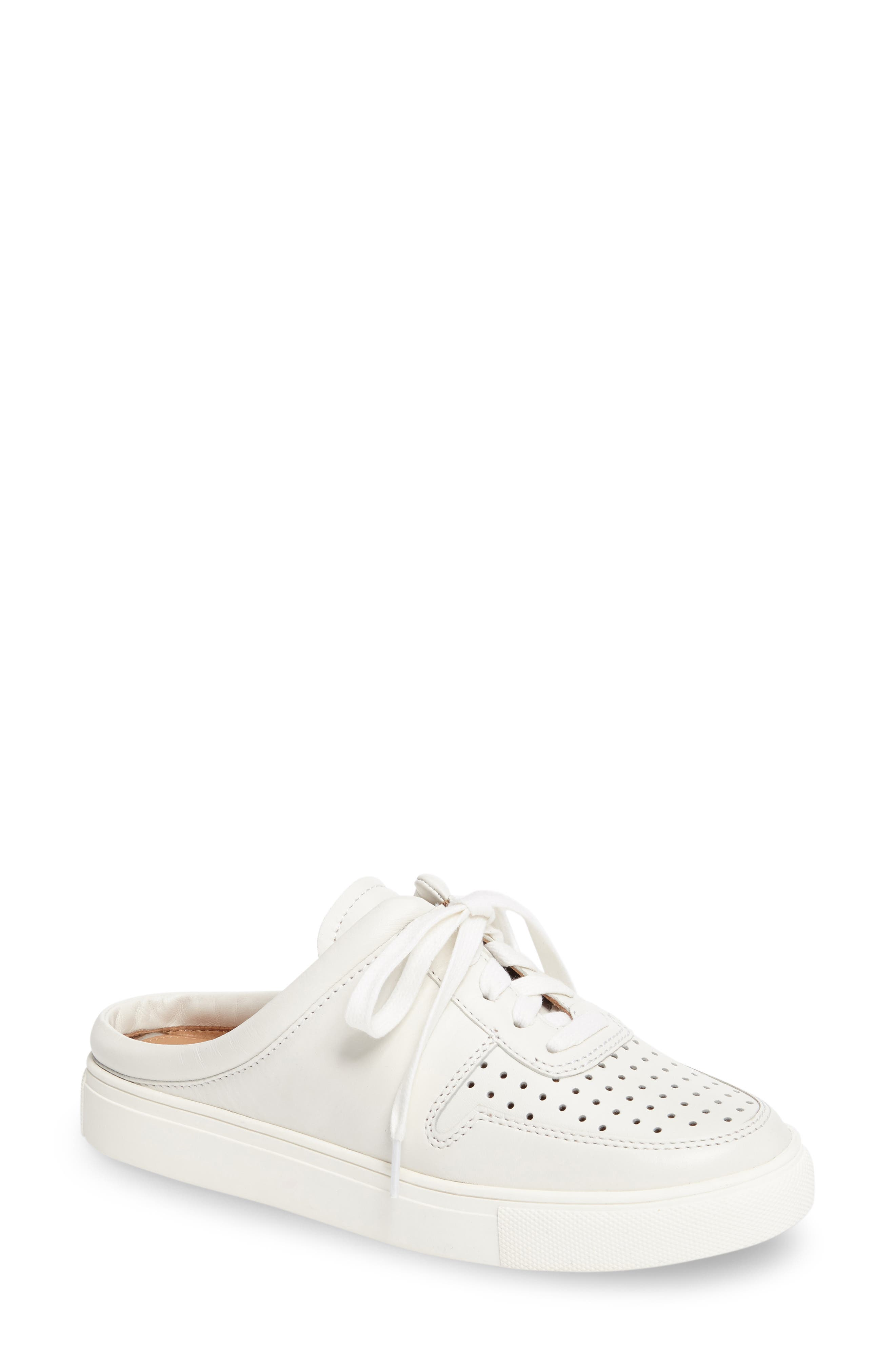 Kacy Perforated Slide Sneaker,                         Main,                         color, White Leather
