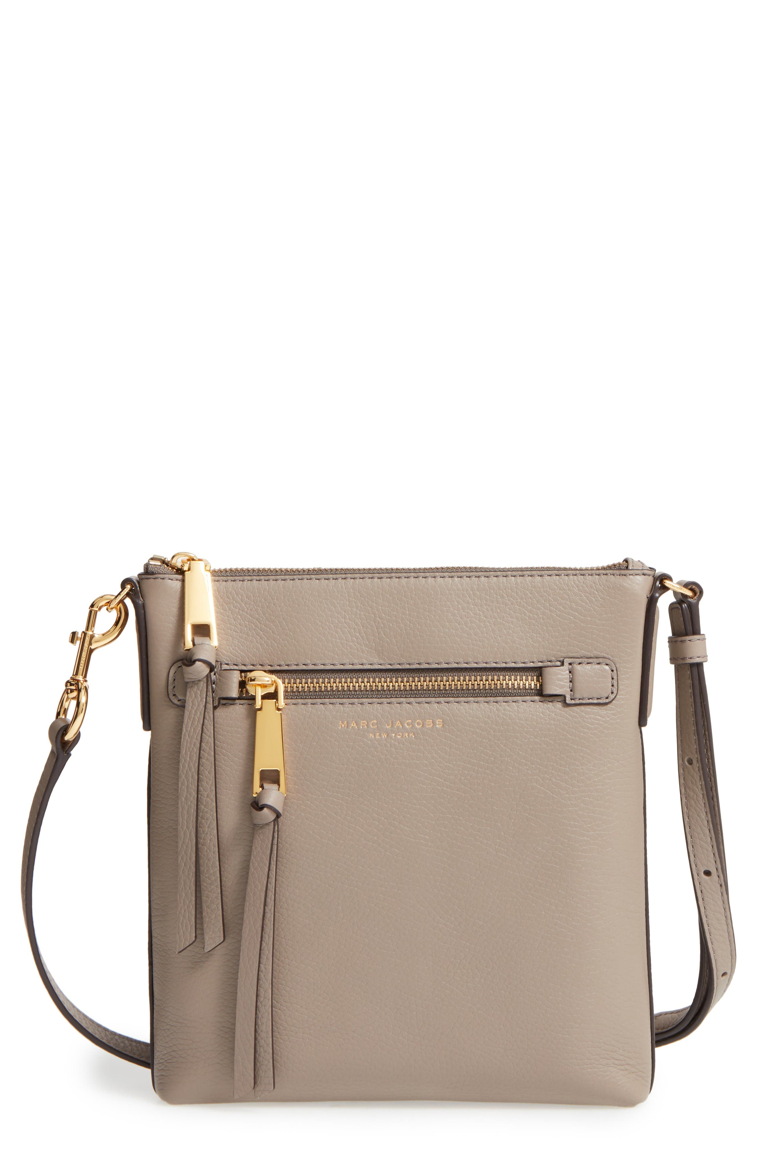 Recruit North/South Leather Crossbody Bag,                         Main,                         color, Mink