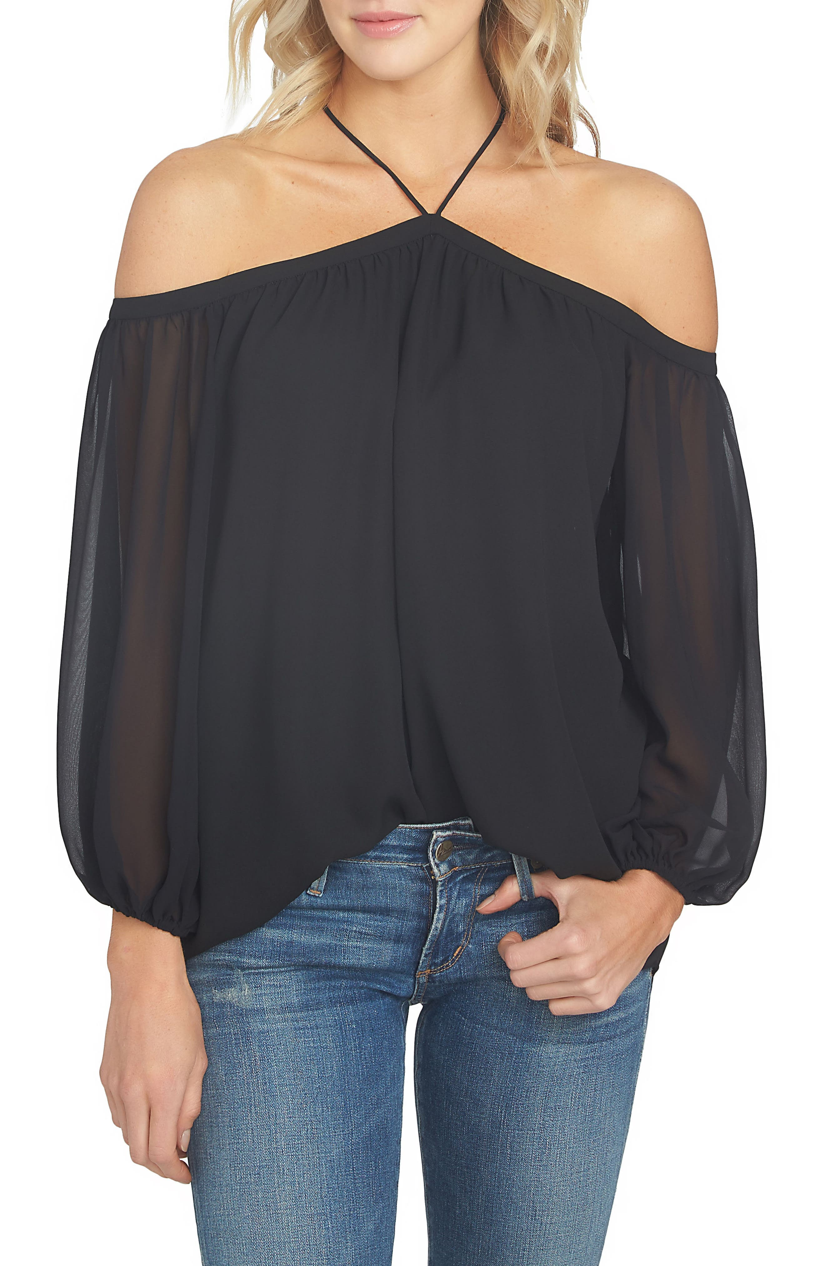 1.STATE Off the Shoulder Sheer Chiffon Blouse