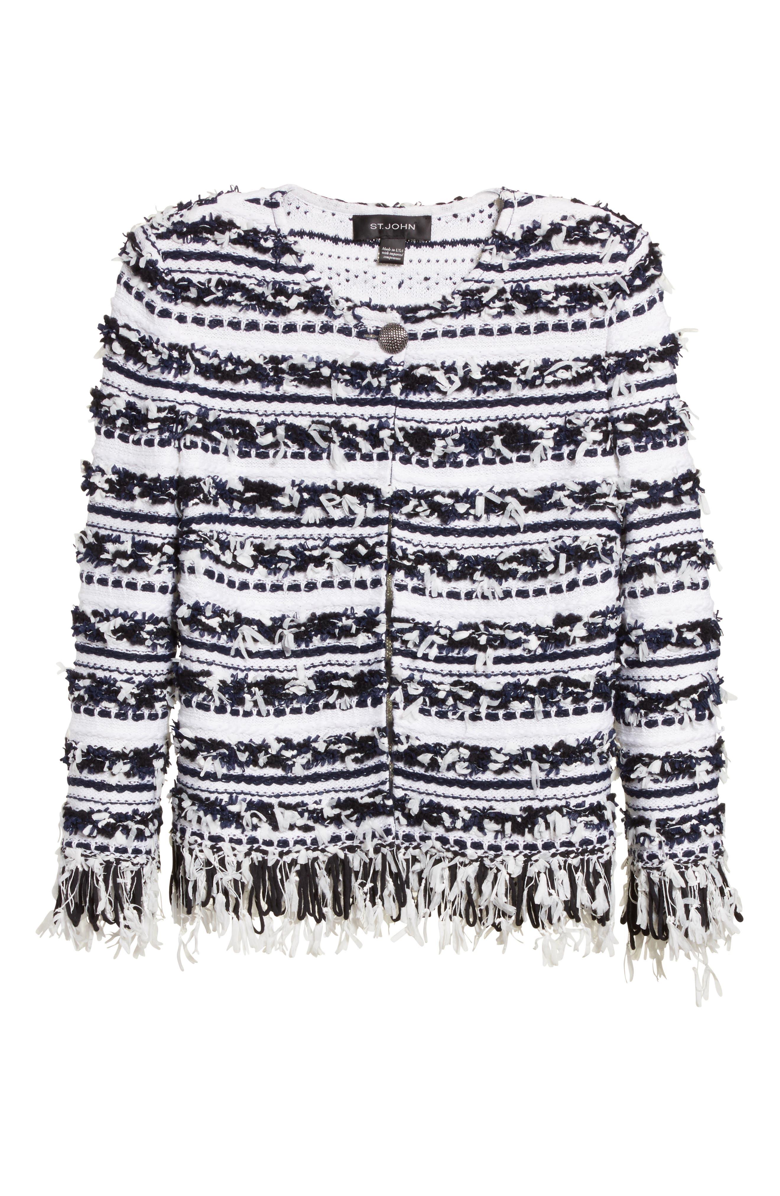 Alternate Image 6  - St. John Collection Adel Stripe Fringe Jacket