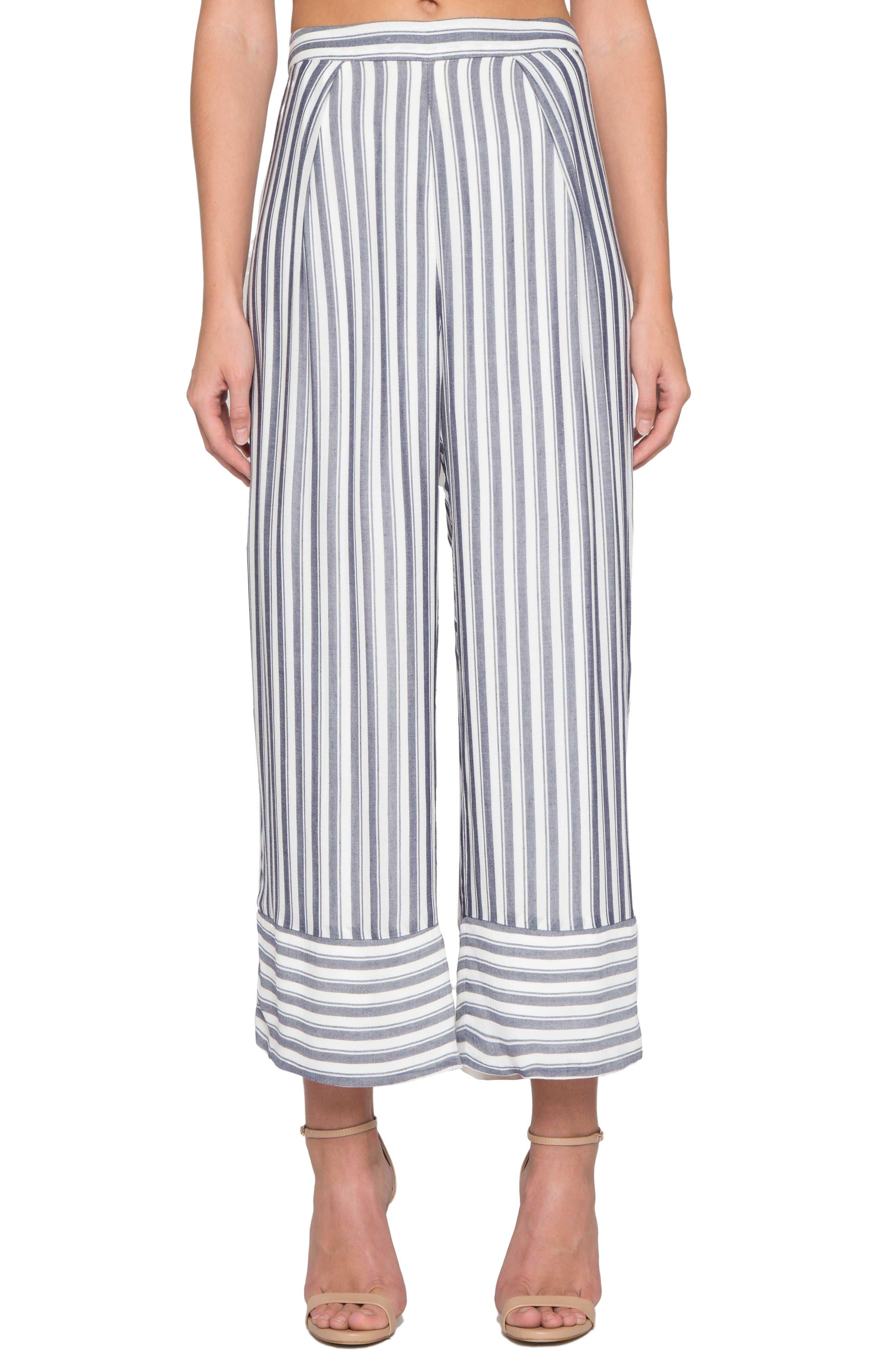 Willow & Clay Stripe Wide Leg Crop Pants
