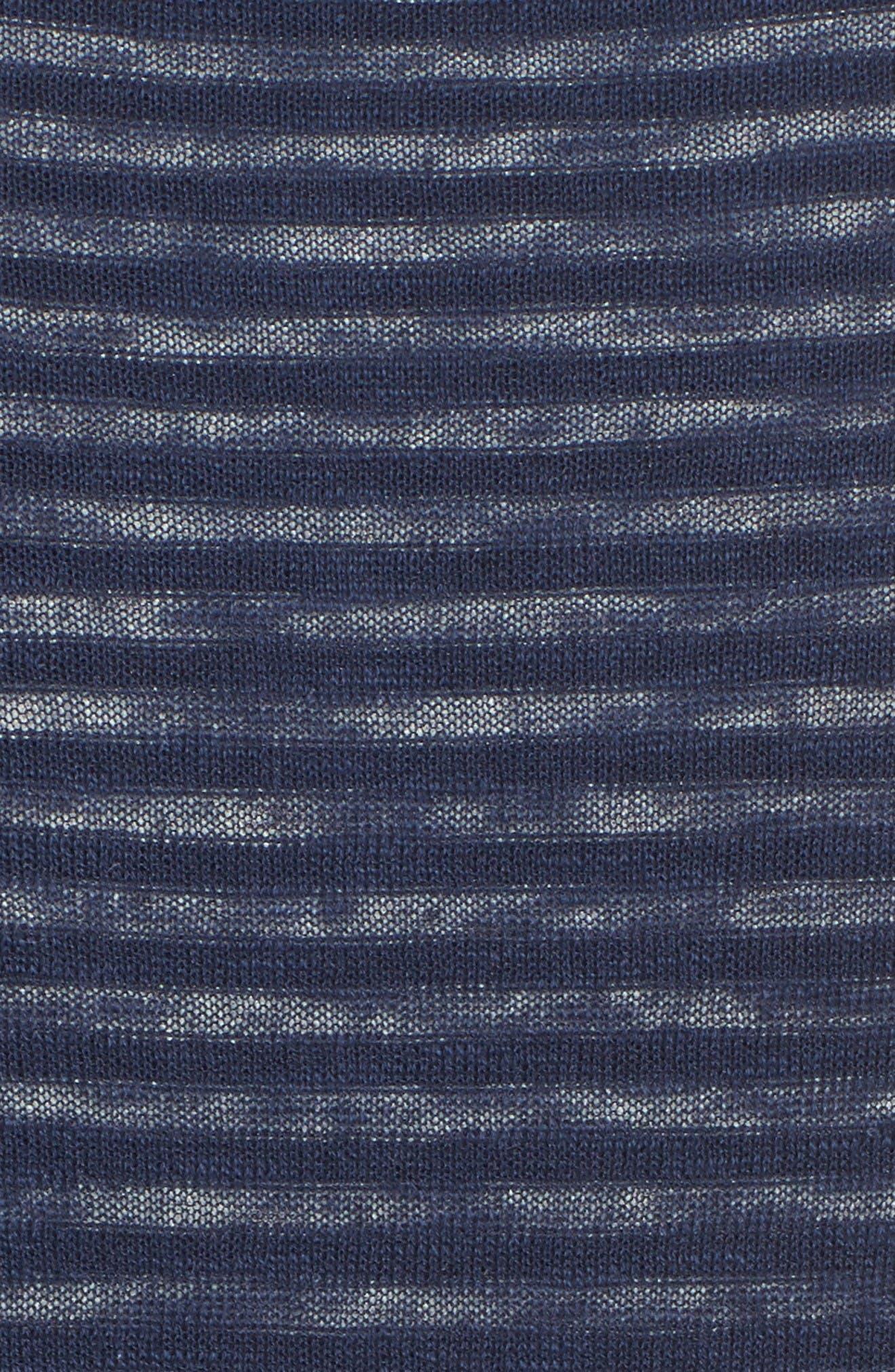 Luca Reversible Cotton & Linen Pullover,                             Alternate thumbnail 5, color,                             Turbid Stripe Night Sea/ White