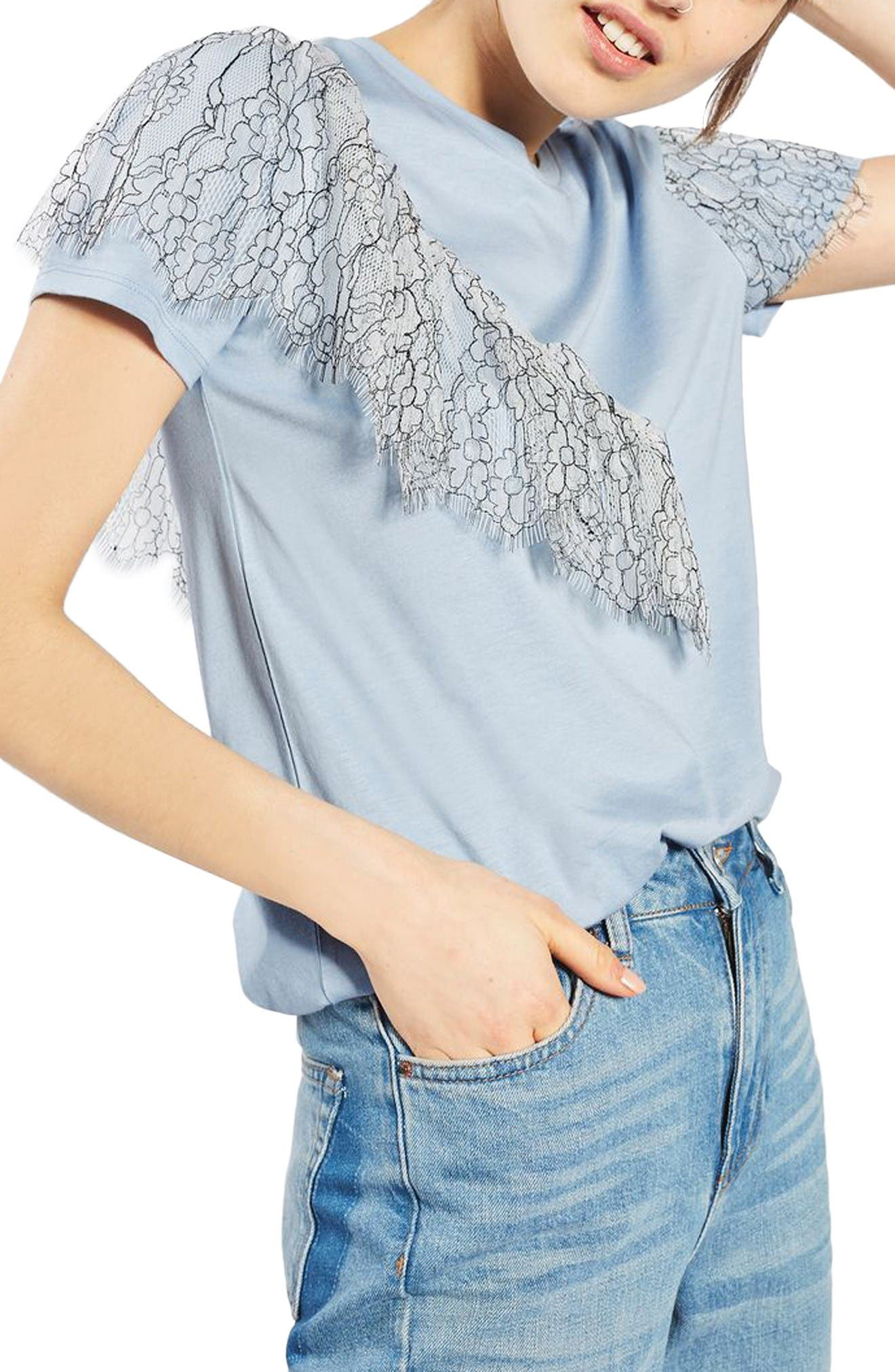 Alternate Image 1 Selected - Topshop Lace Ruffle Tee