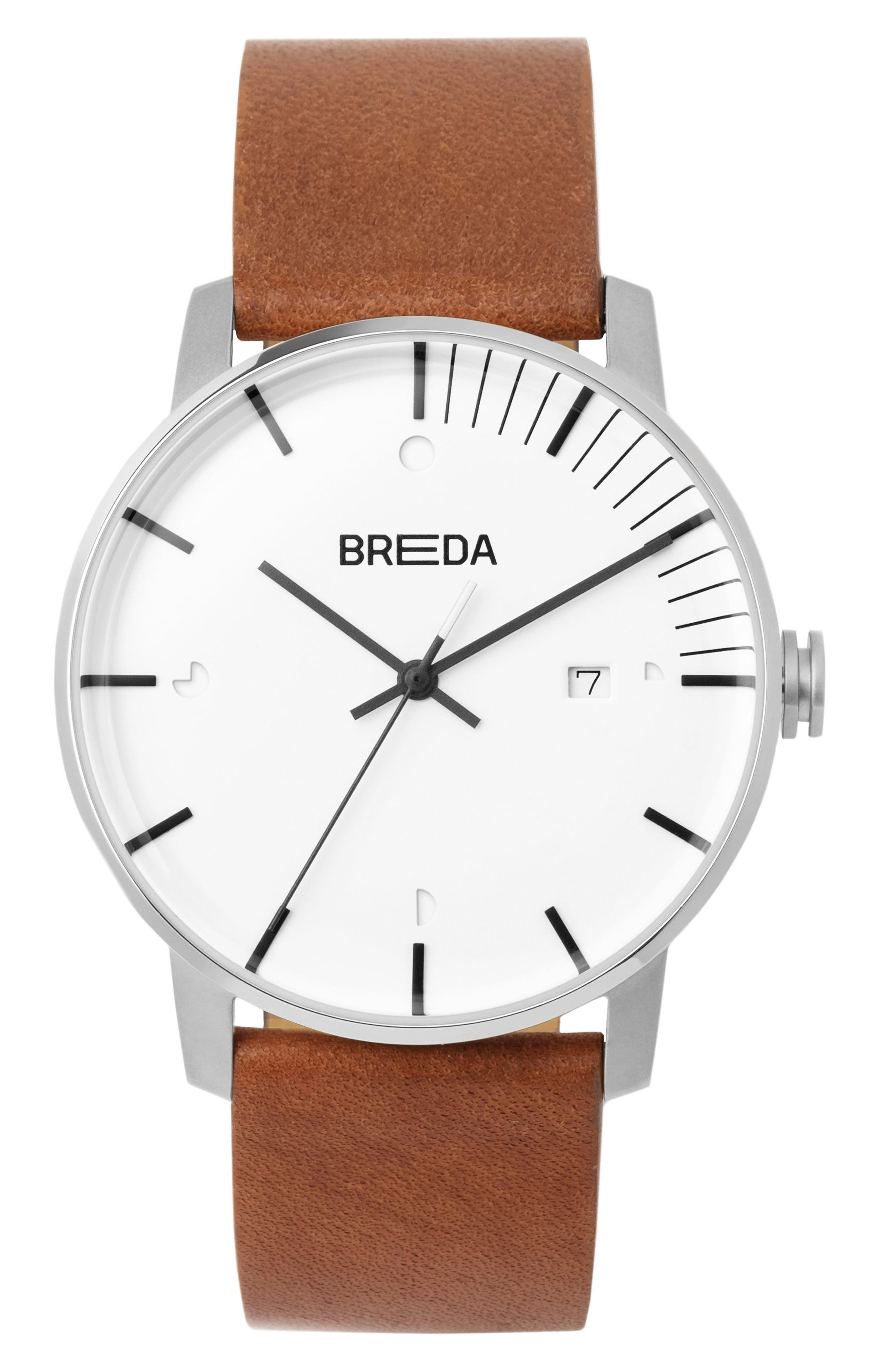 Phase Leather Strap Watch, 39mm,                             Main thumbnail 1, color,                             White/ Brown