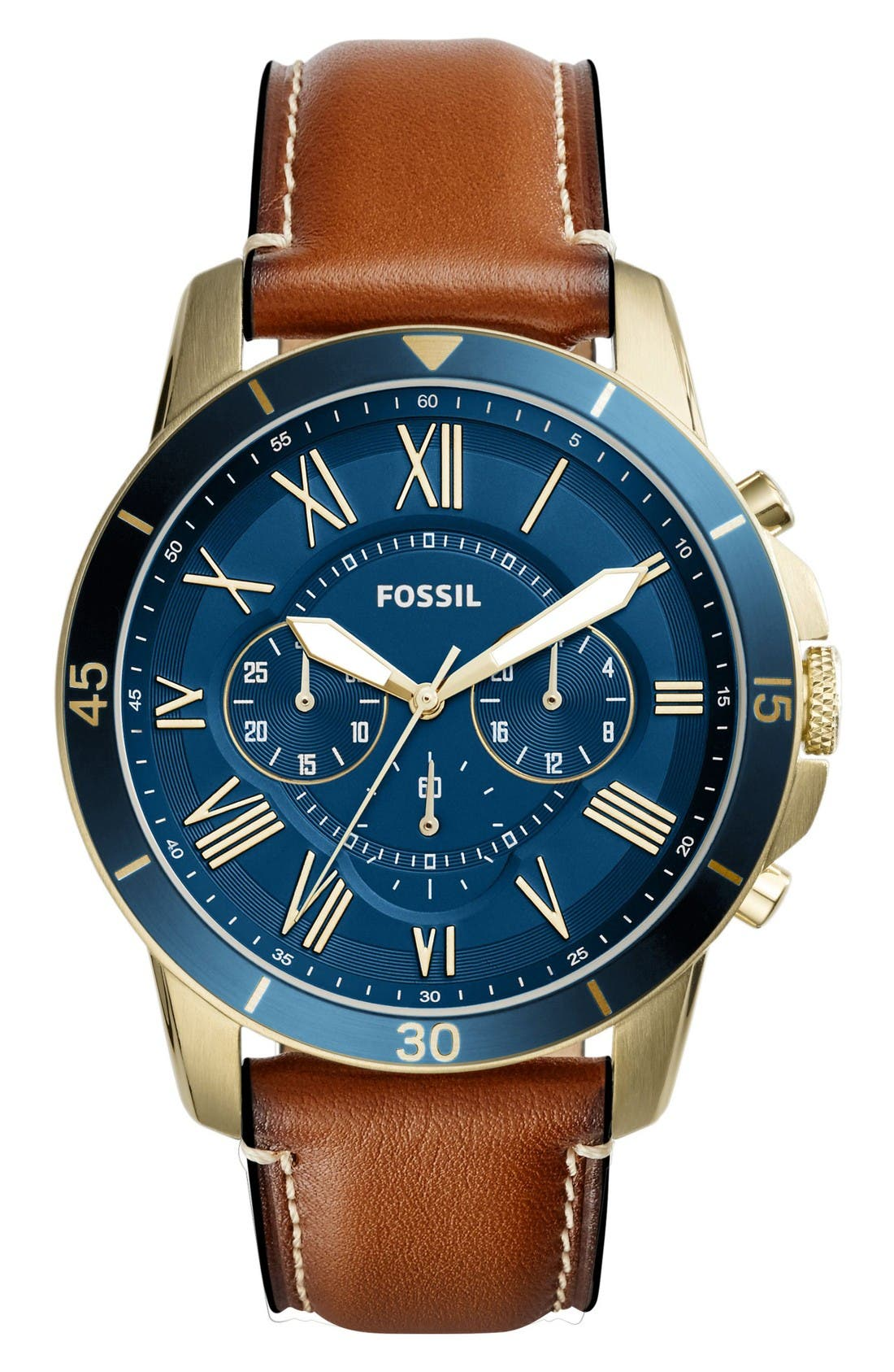 Grant Chronograph Leather Strap Watch, 44mm,                         Main,                         color, Brown/ Navy/ Gold