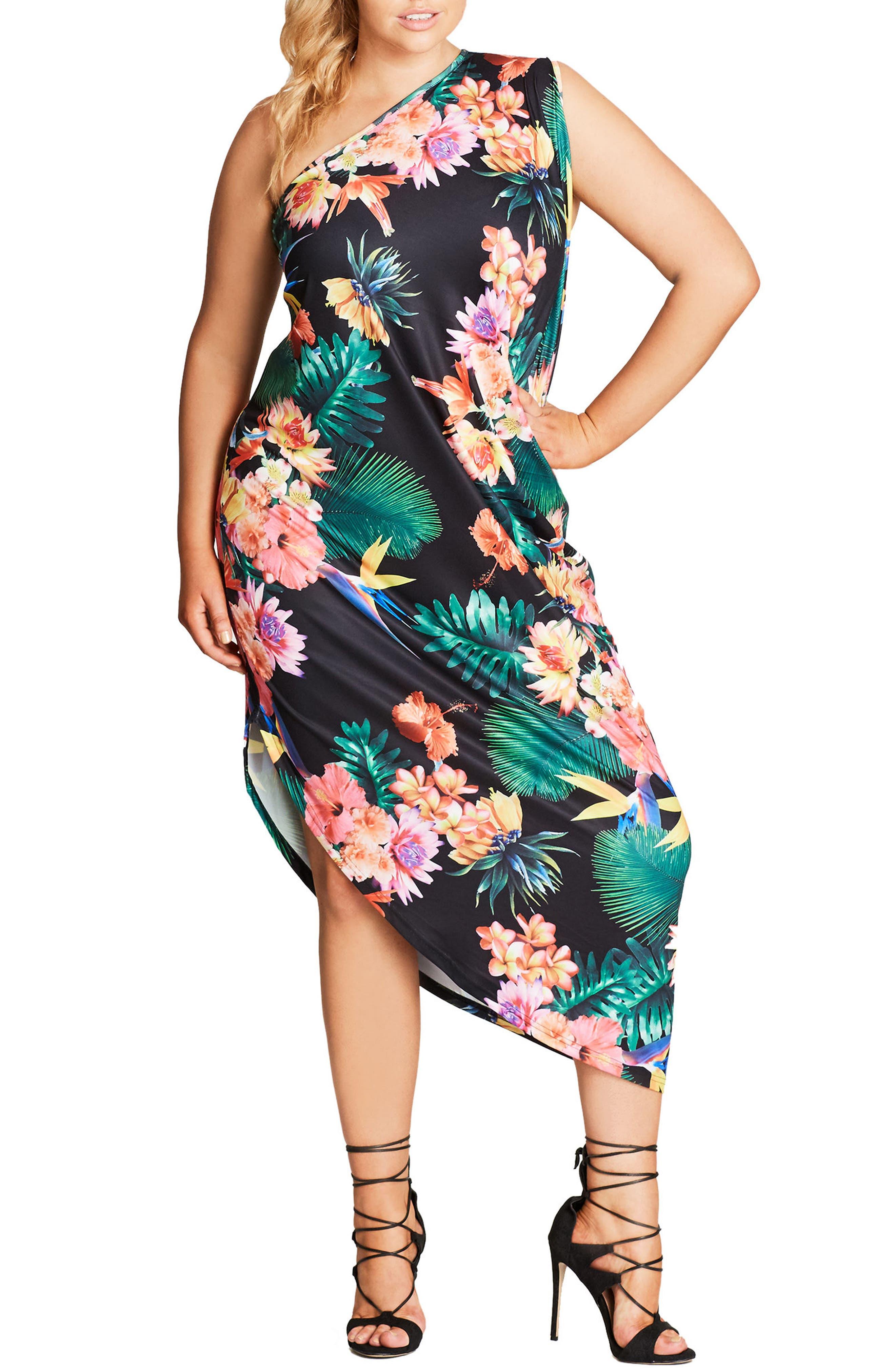 One Shoulder Maxi Dress,                         Main,                         color, Tropical Nights