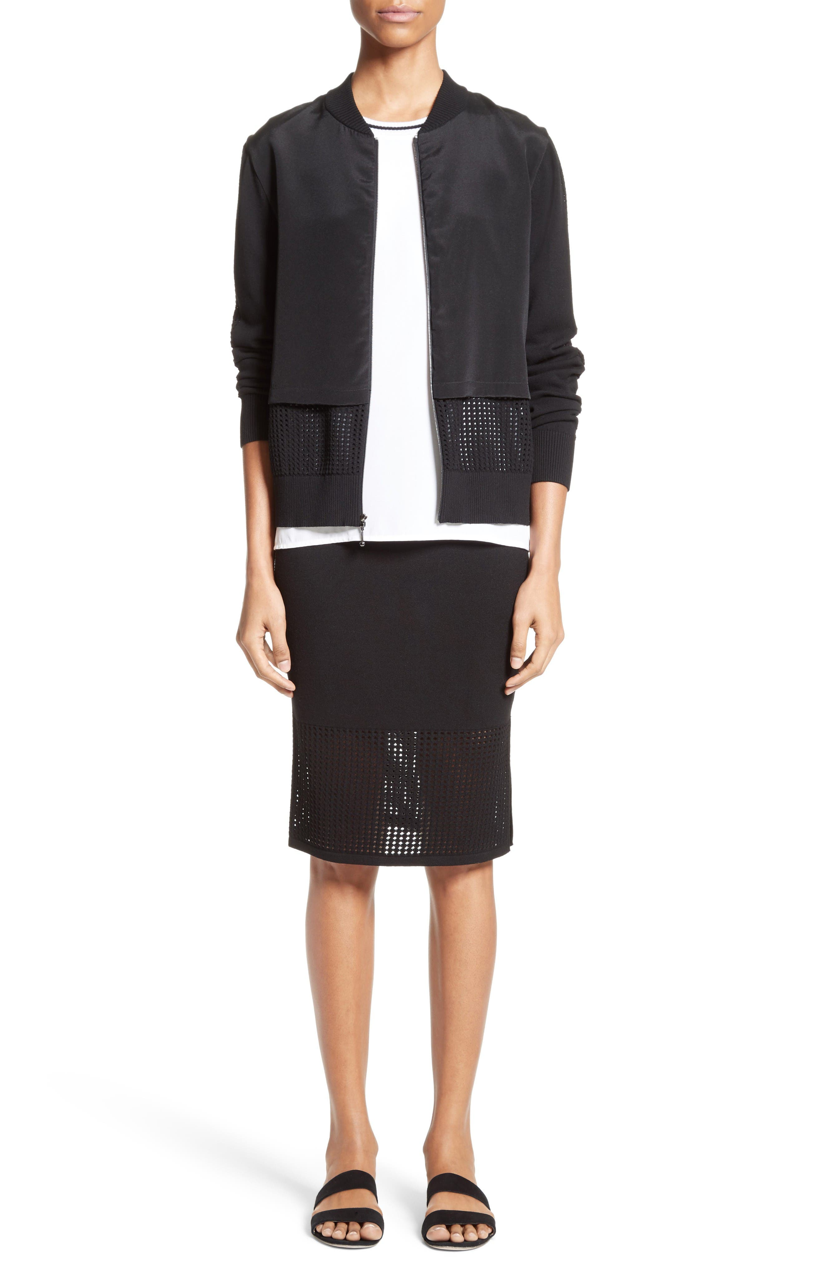 Alternate Image 7  - St. John Collection Technical Mesh Knit Pencil Skirt