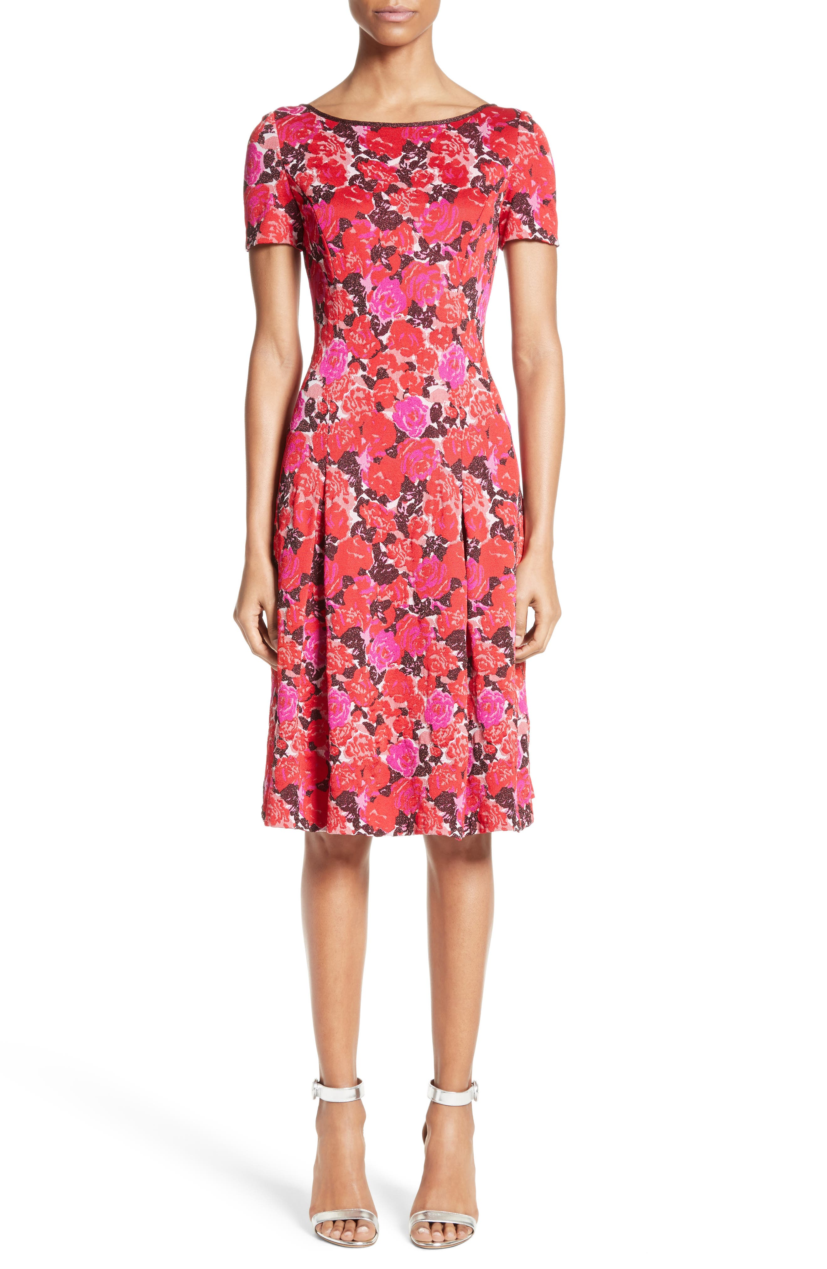 Indian Rose Blister Jacquard Dress,                         Main,                         color, Red Multi