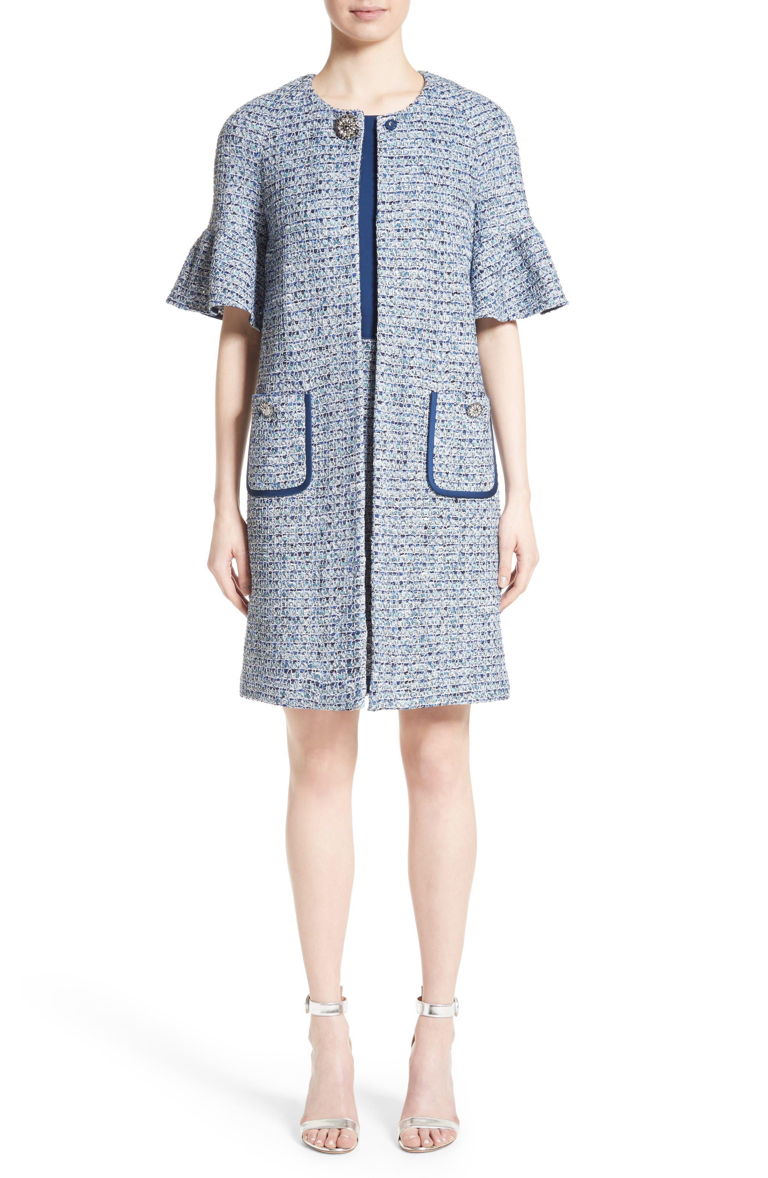 Kiara Tweed Bell Sleeve Jacket,                             Alternate thumbnail 8, color,                             Blue Multi