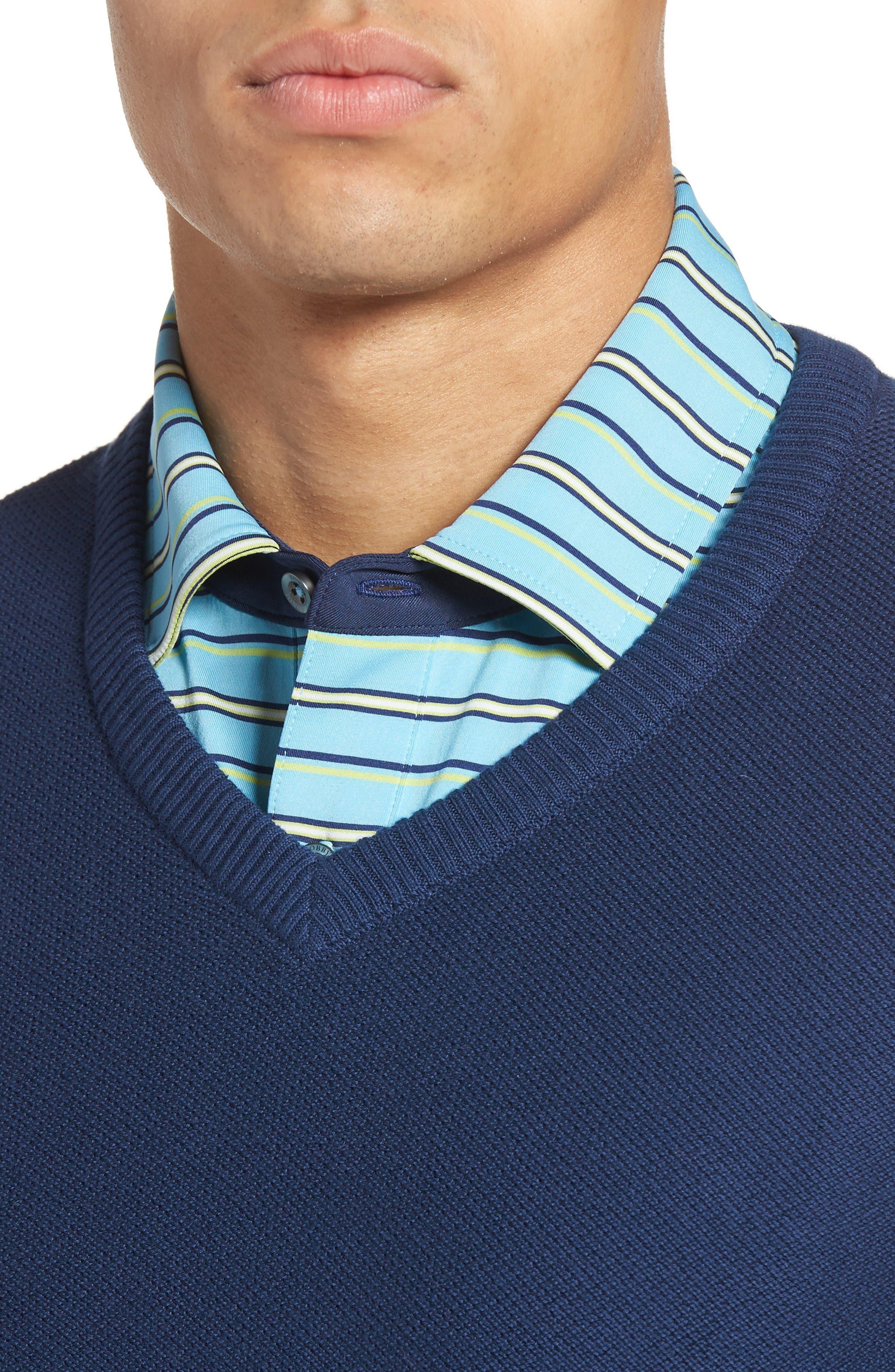 Piqué Jersey V-Neck Sweater,                             Alternate thumbnail 4, color,                             Summer Navy