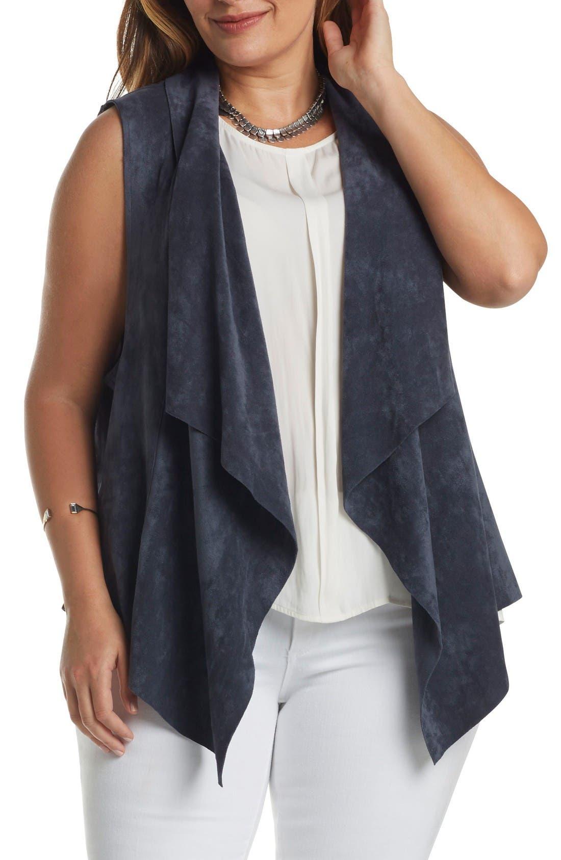 Paz Faux Suede Drape Front Vest,                         Main,                         color, Steel Blue