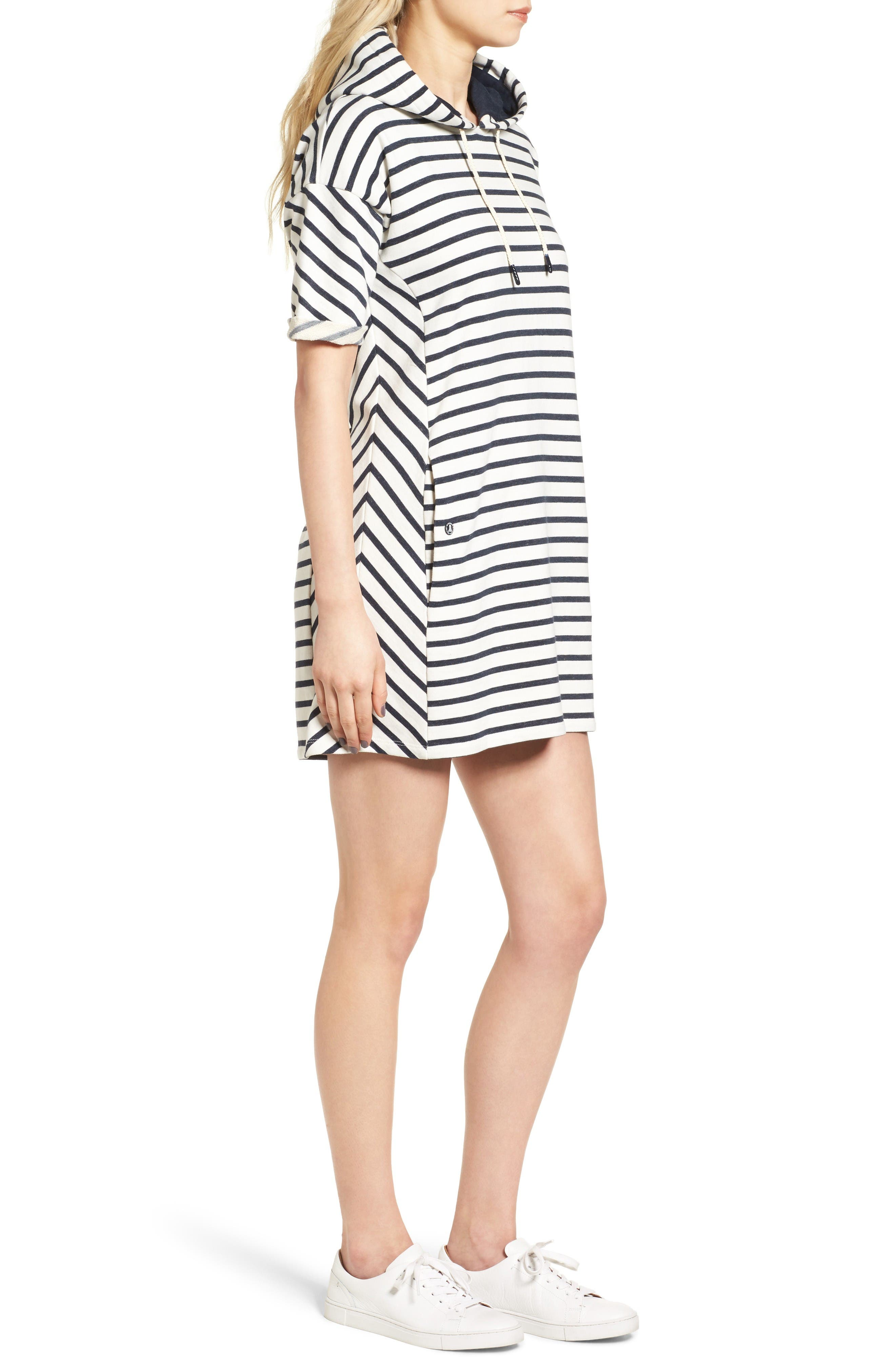 Dive Stripe Terry Hooded Dress,                             Alternate thumbnail 3, color,                             Navy Cloud