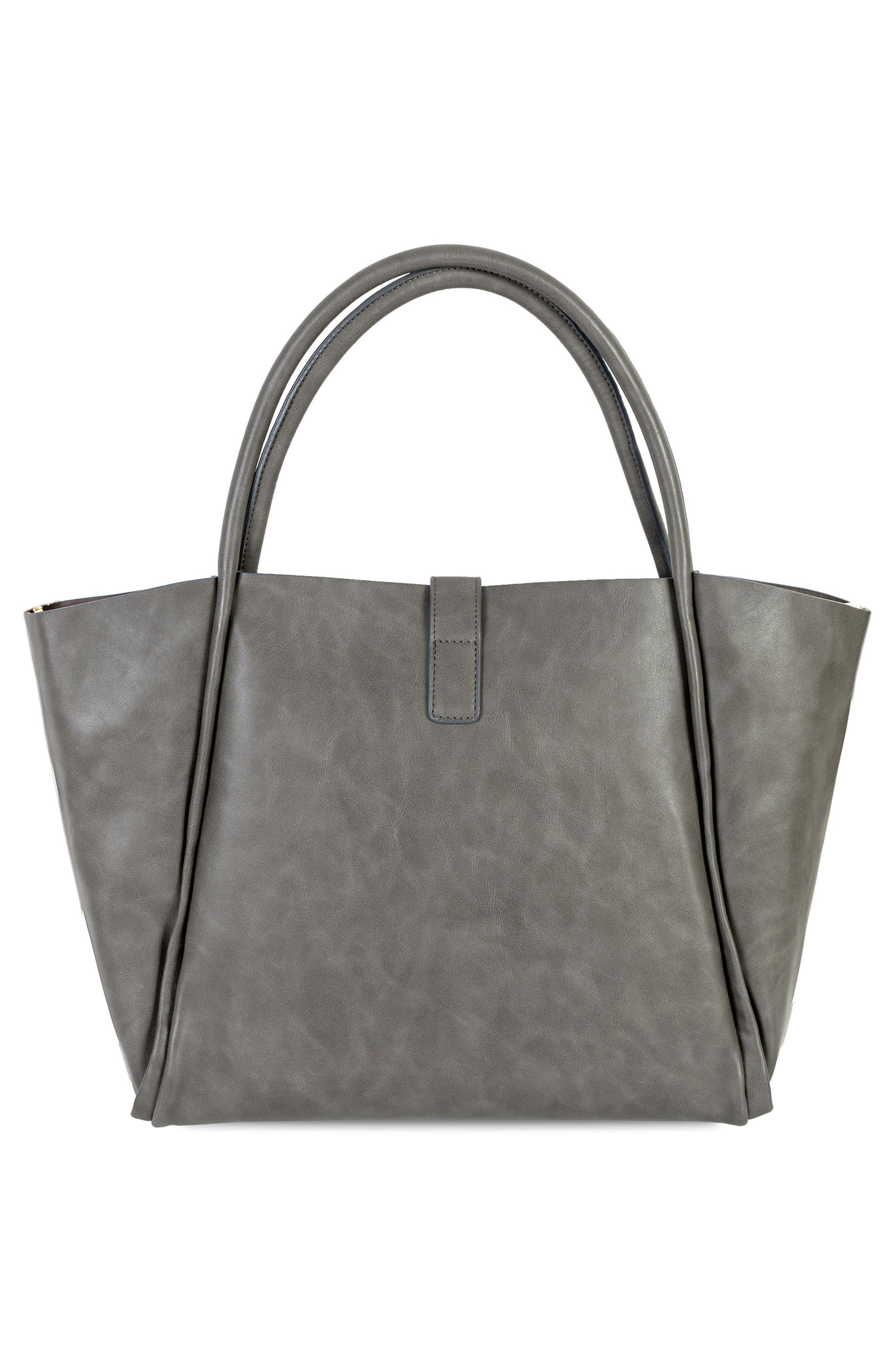 Caris Faux Leather Diaper Tote,                             Alternate thumbnail 2, color,                             Grey