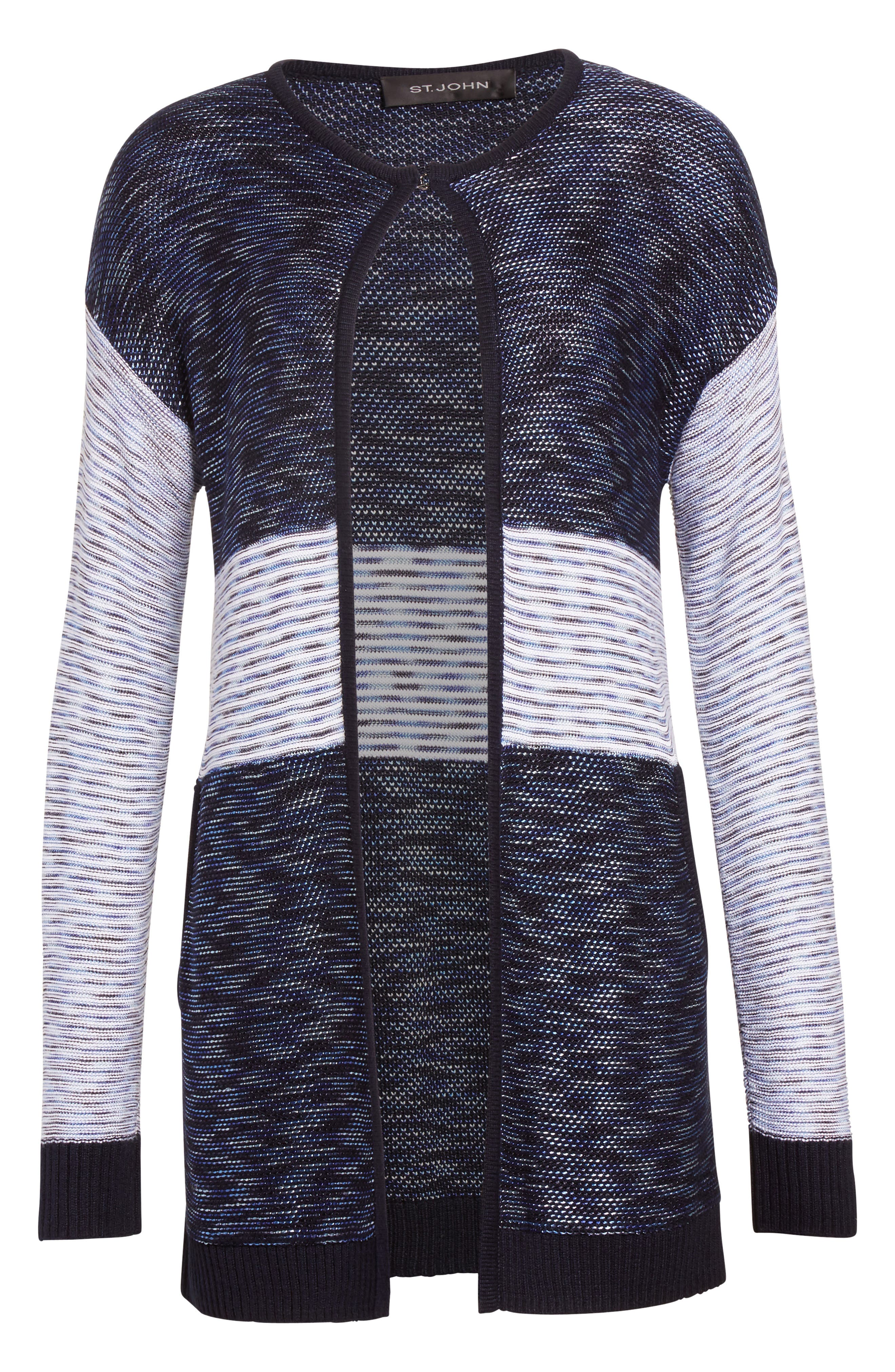 Chambray Effect Links Knit Cardigan,                             Alternate thumbnail 7, color,                             Bianco/ Navy Multi