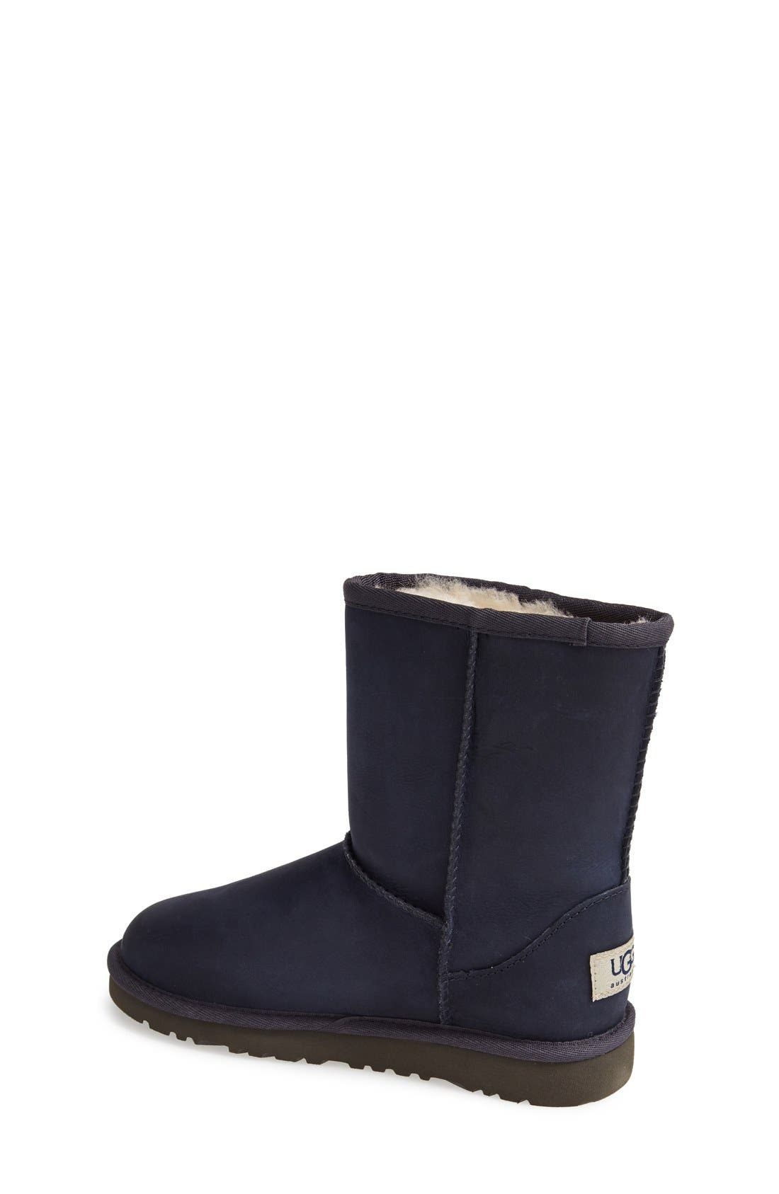 Alternate Image 2  - UGG® Classic Short Water Resistant Leather Boot (Little Kid & Big Kid)