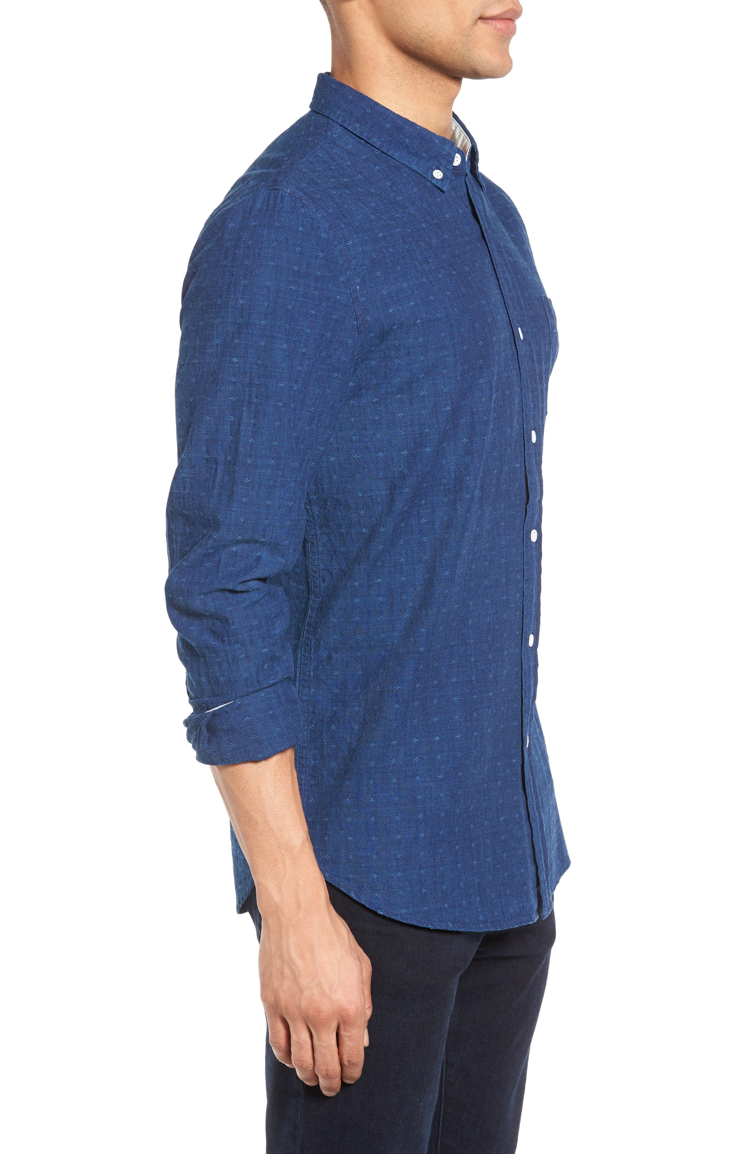 Grady Trim Fit Jacquard Sport Shirt,                             Alternate thumbnail 3, color,                             Washed Indigo