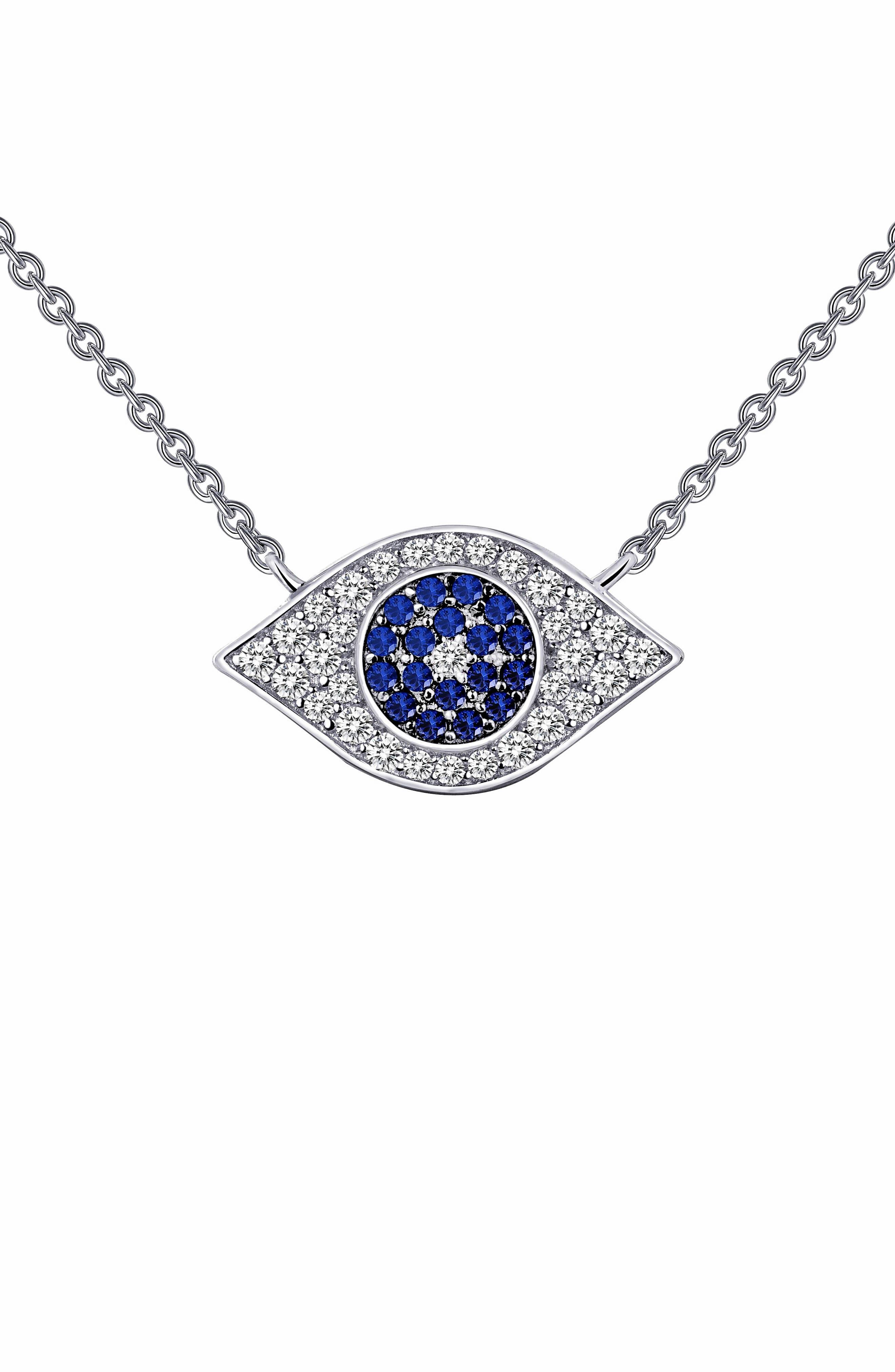 Simulated Diamond Amulet Pendant Necklace,                         Main,                         color, Sapphire / Silver