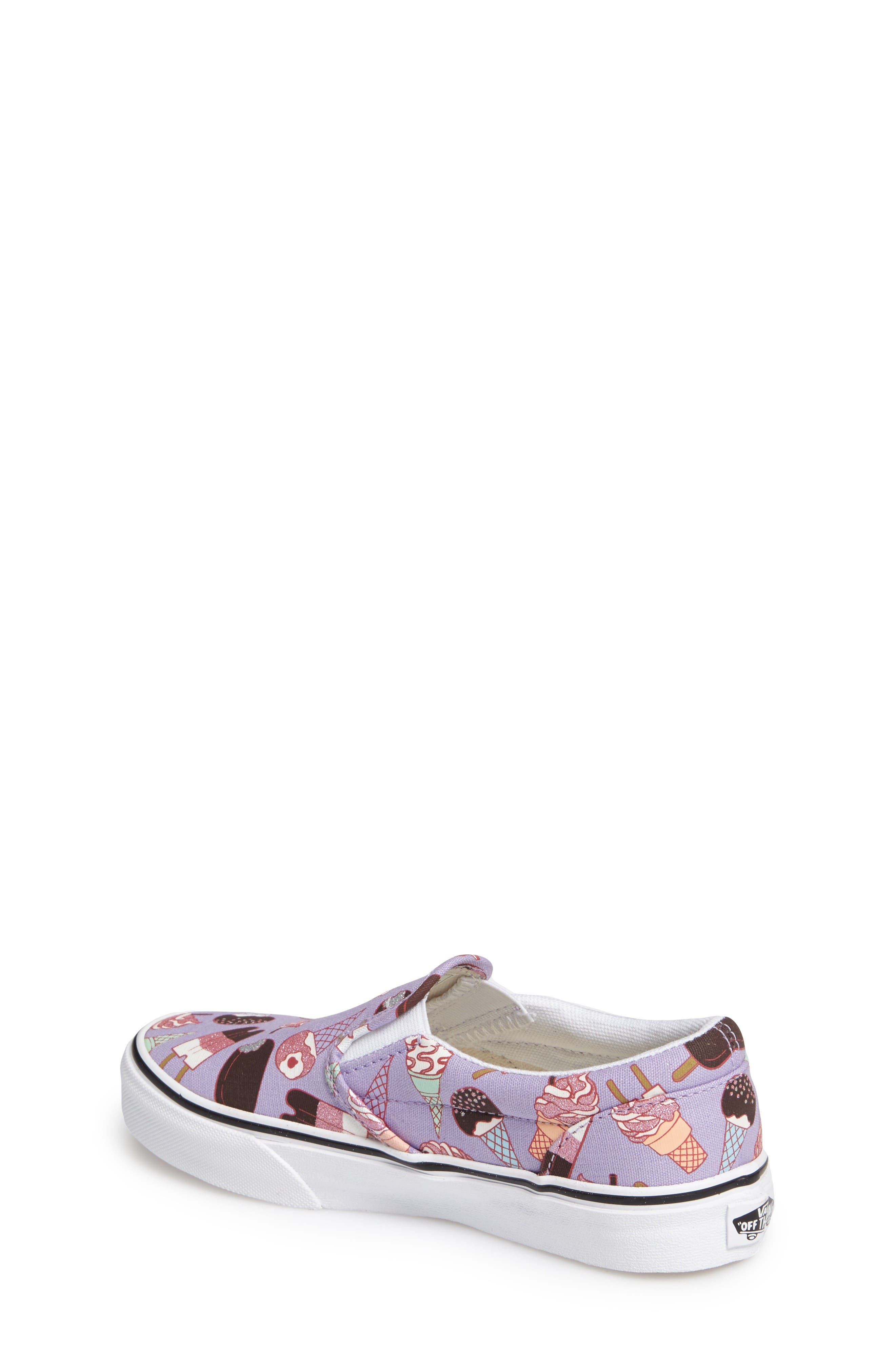 Classic Slip-On,                             Alternate thumbnail 2, color,                             Glitter Lavender/ White