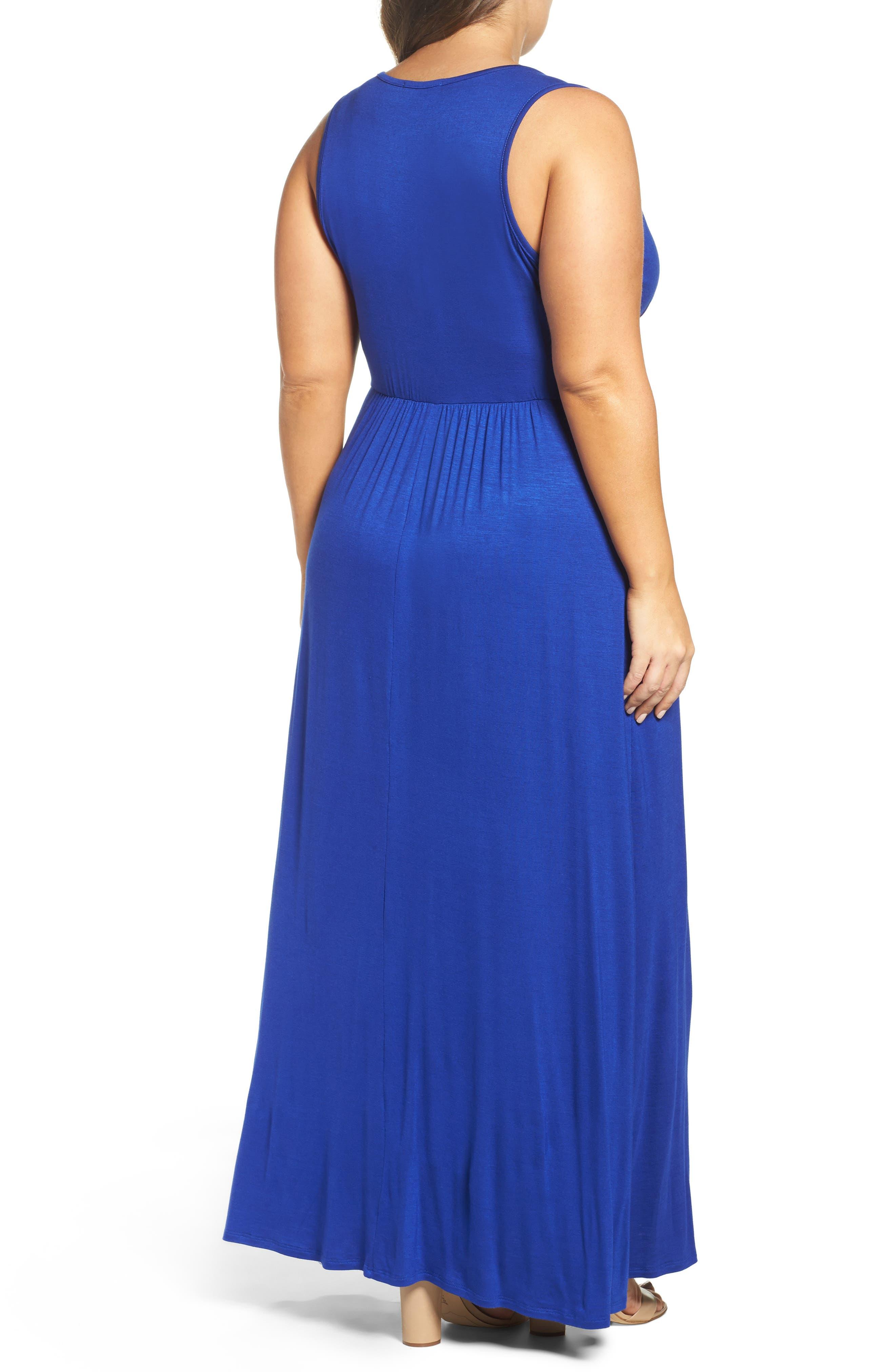 Alternate Image 2  - Loveappella Surplice Maxi Dress (Plus Size)
