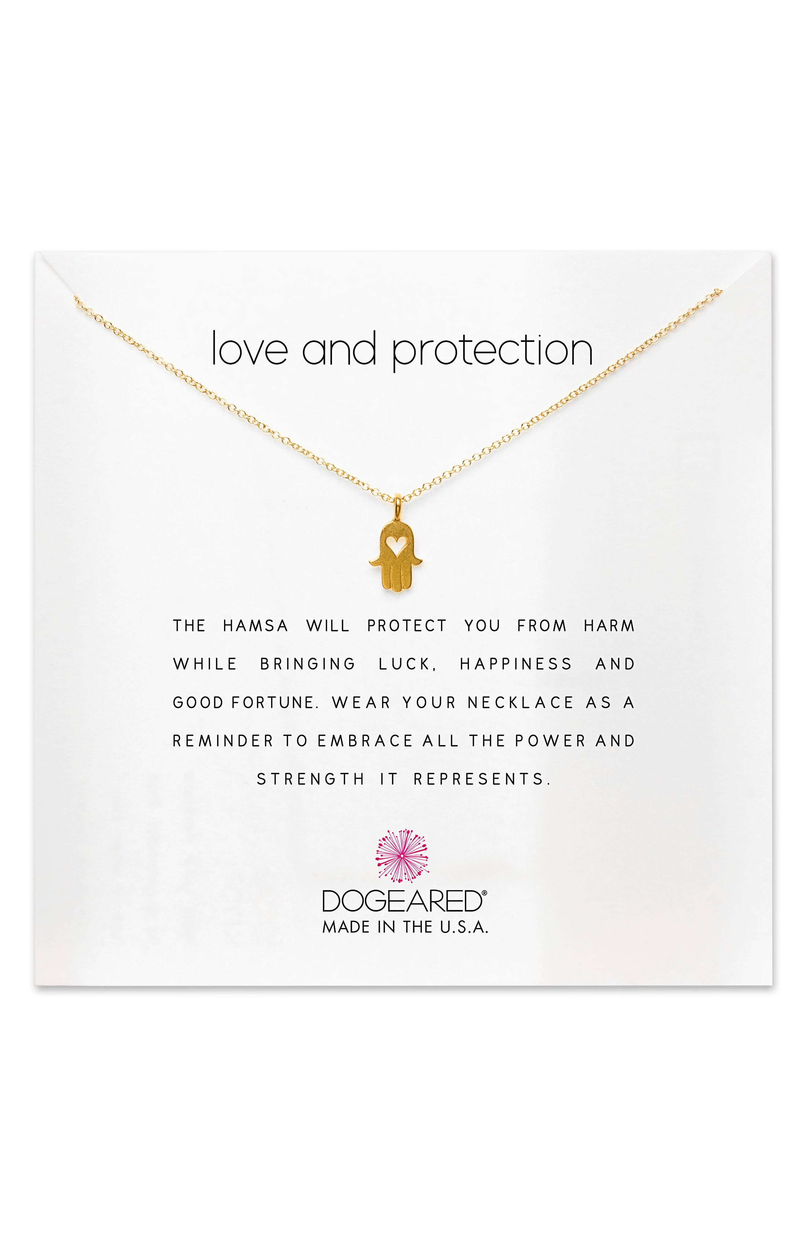 Love & Protection Pendant Necklace,                             Main thumbnail 1, color,                             Gold