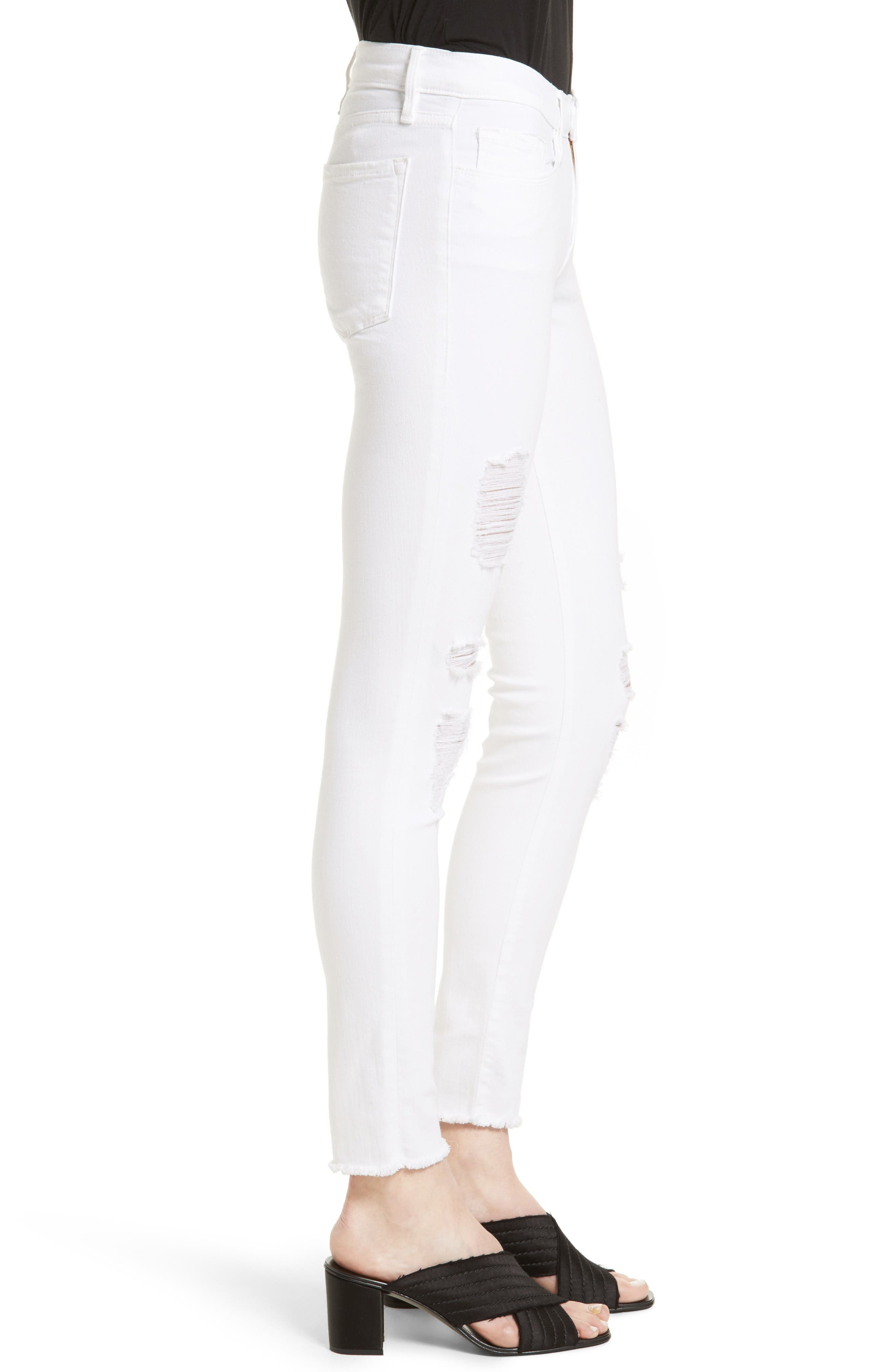 Alternate Image 3  - FRAME 'Le Skinny de Jeanne' Ripped Jeans (Noir Jefferson) (Nordstrom Exclusive)