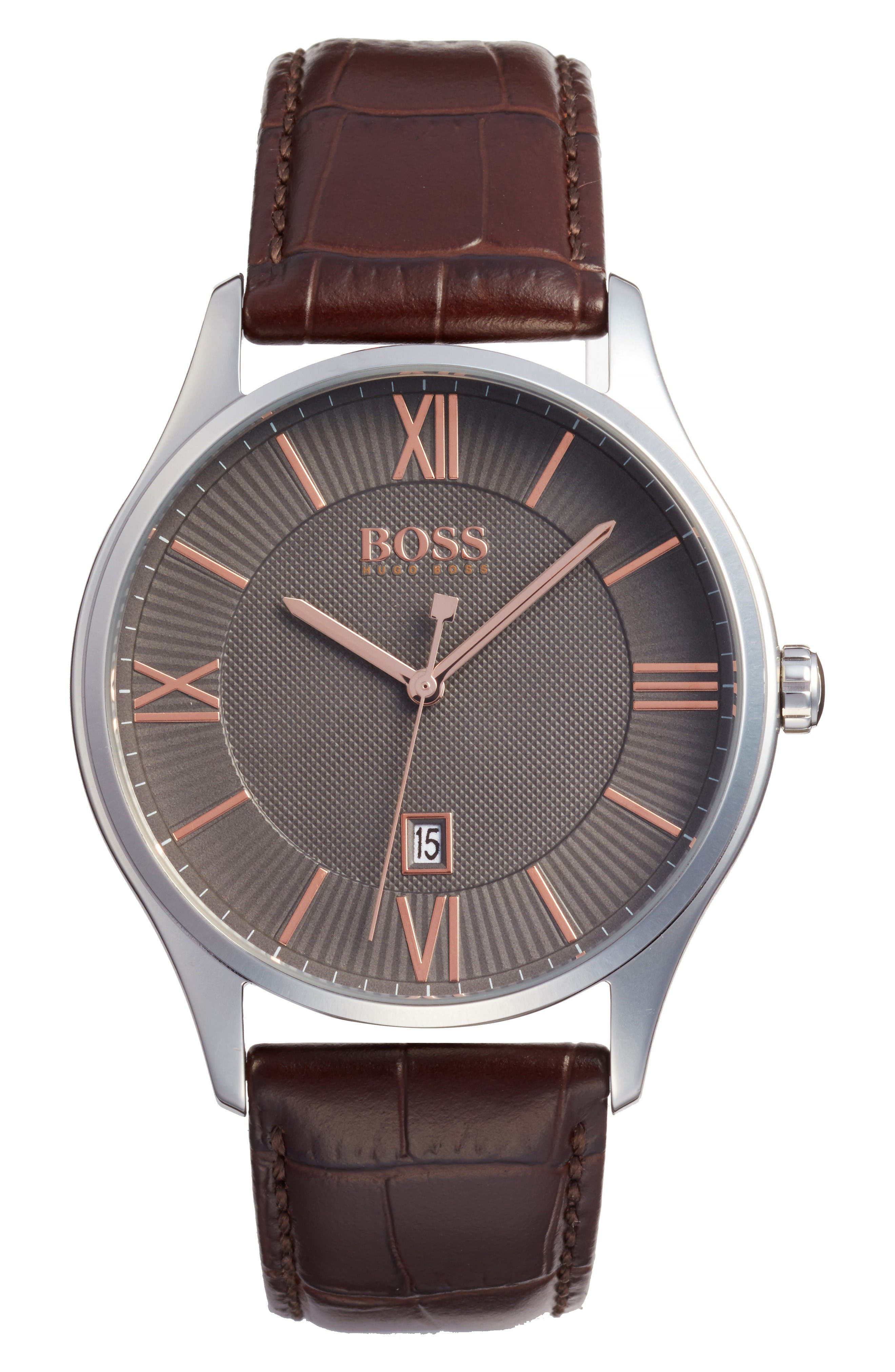Governor Croc Embossed Leather Strap Watch, 44mm,                         Main,                         color, Grey/ Brown