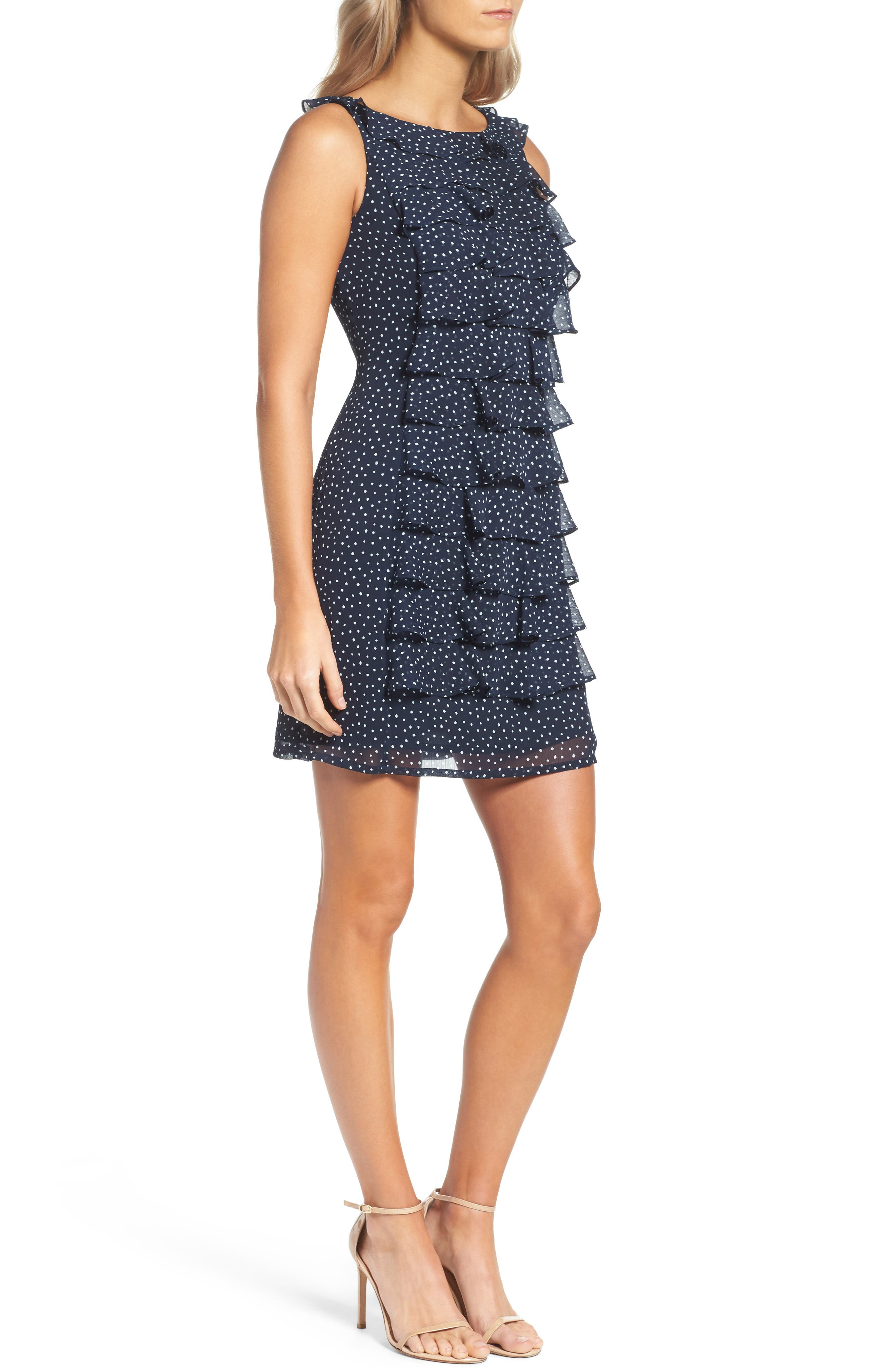 Alternate Image 3  - Adrianna Papell Polka Dot Ruffle Dress