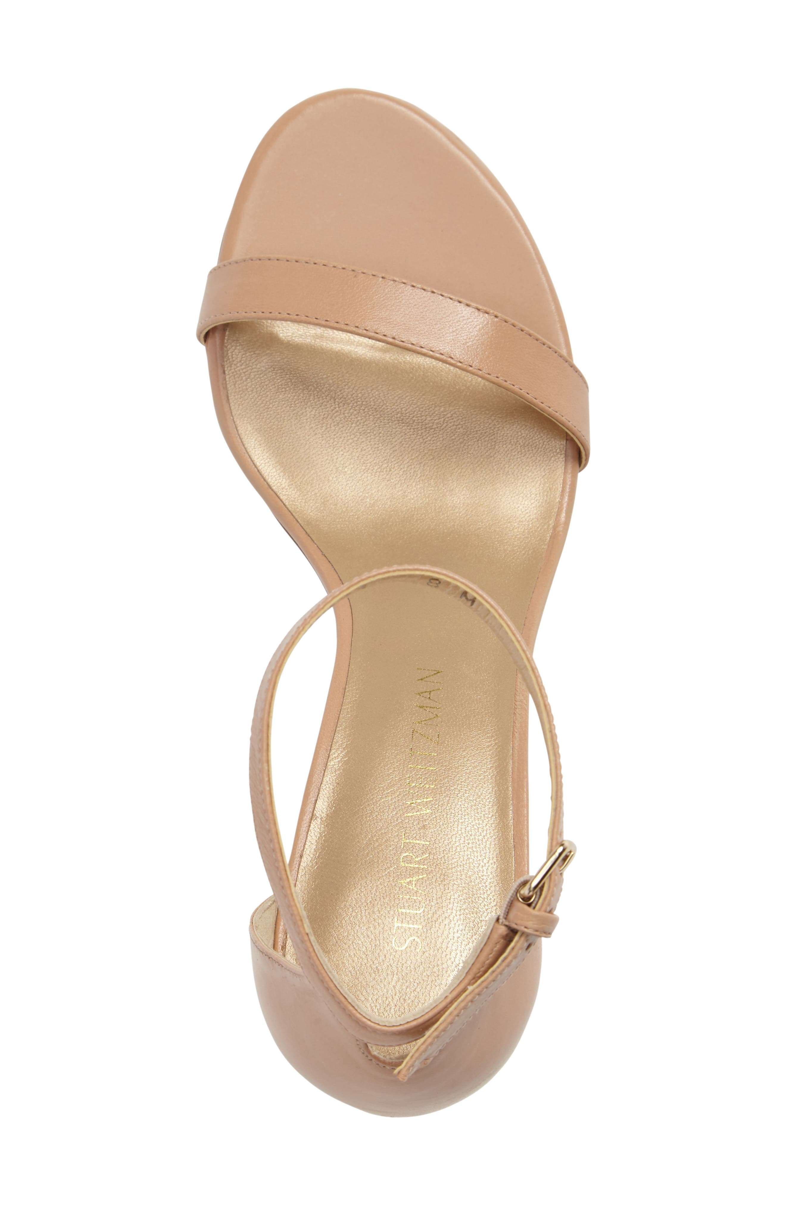 NearlyNude Ankle Strap Sandal,                             Alternate thumbnail 3, color,                             Bambina Nappa