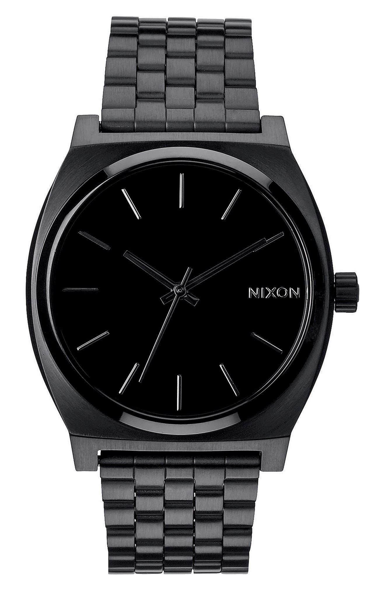 'The Time Teller' Stainless Steel Bracelet Watch, 37mm,                         Main,                         color, Black/ Black