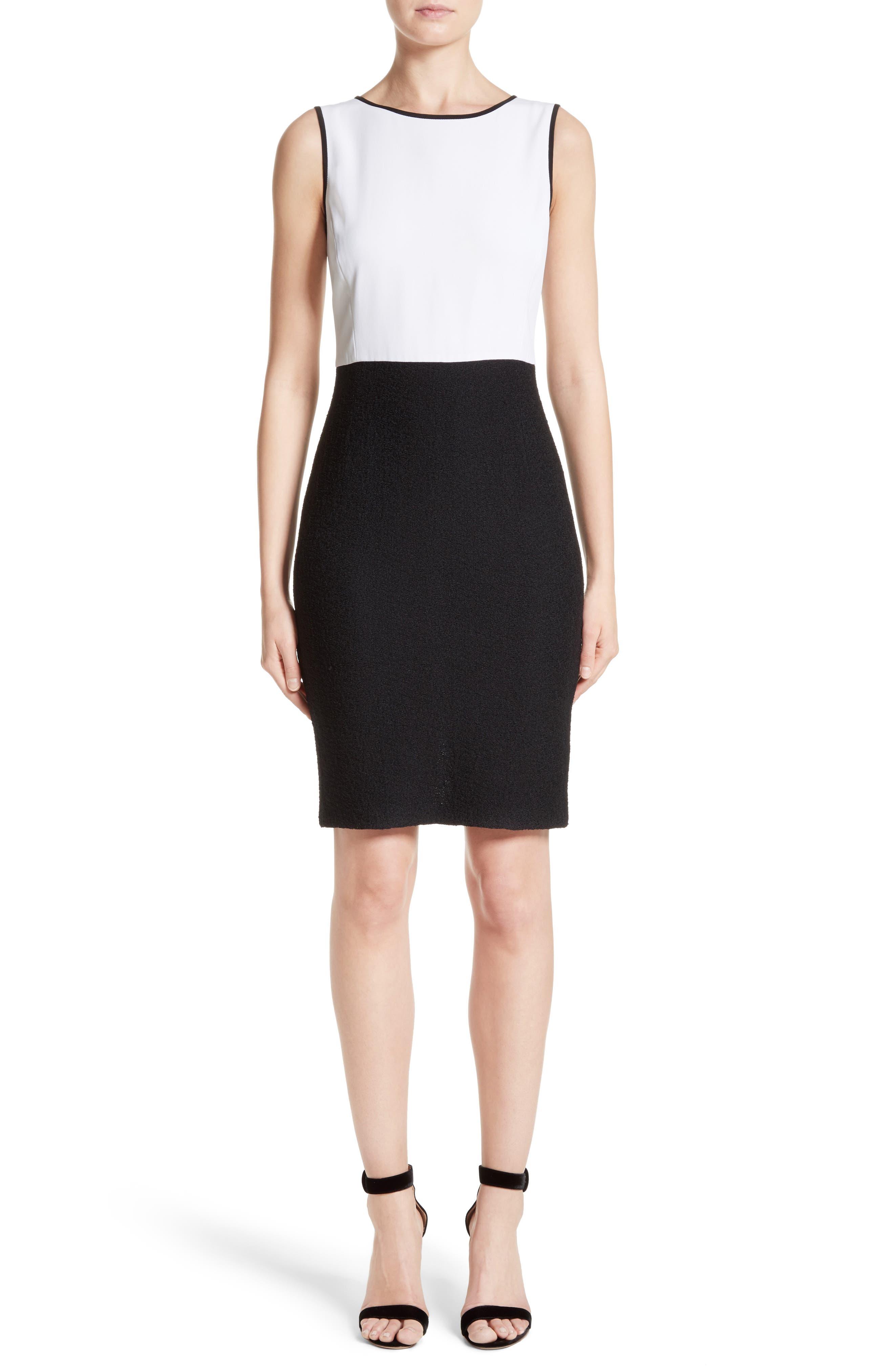 Cady Bodice Clair Knit Dress,                         Main,                         color, Bianco/ Caviar