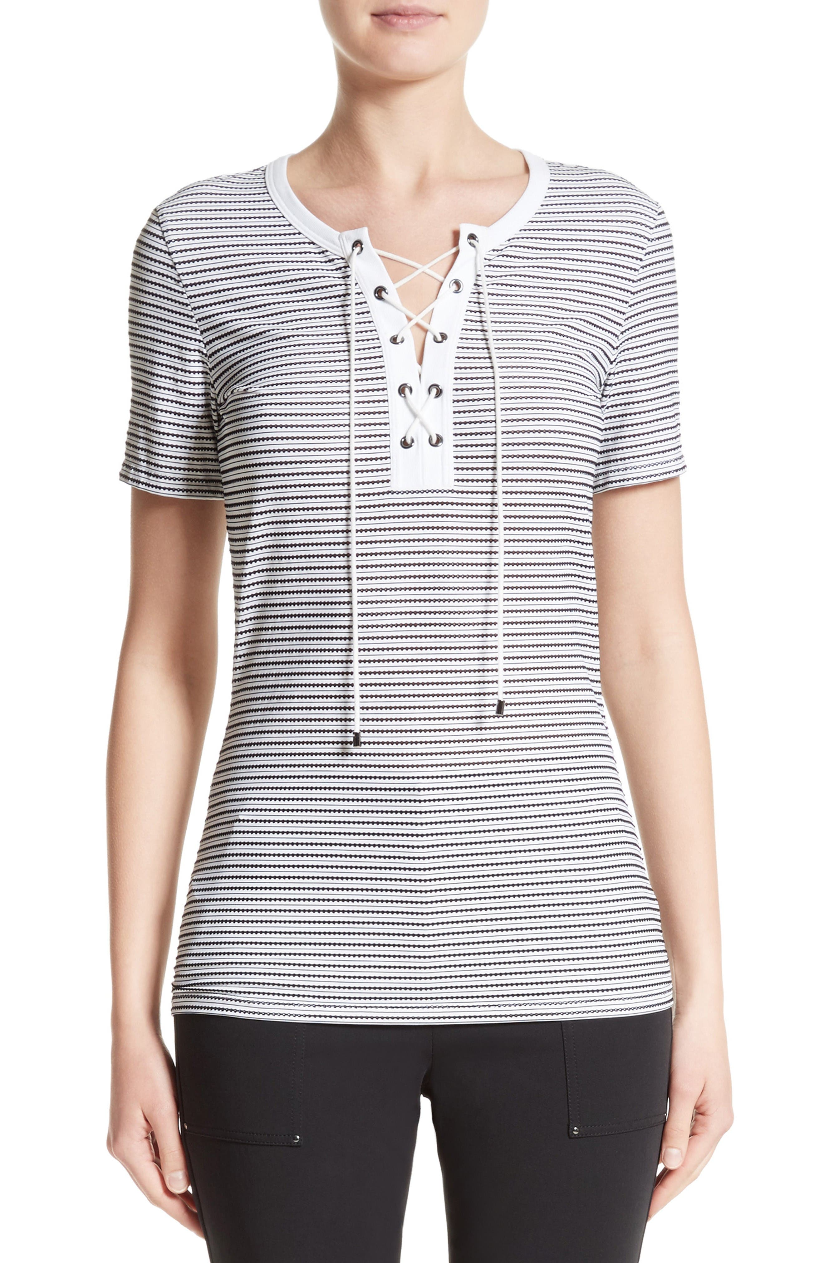 St. John Collection Mesh Stripe Jersey Lace-Up Tee