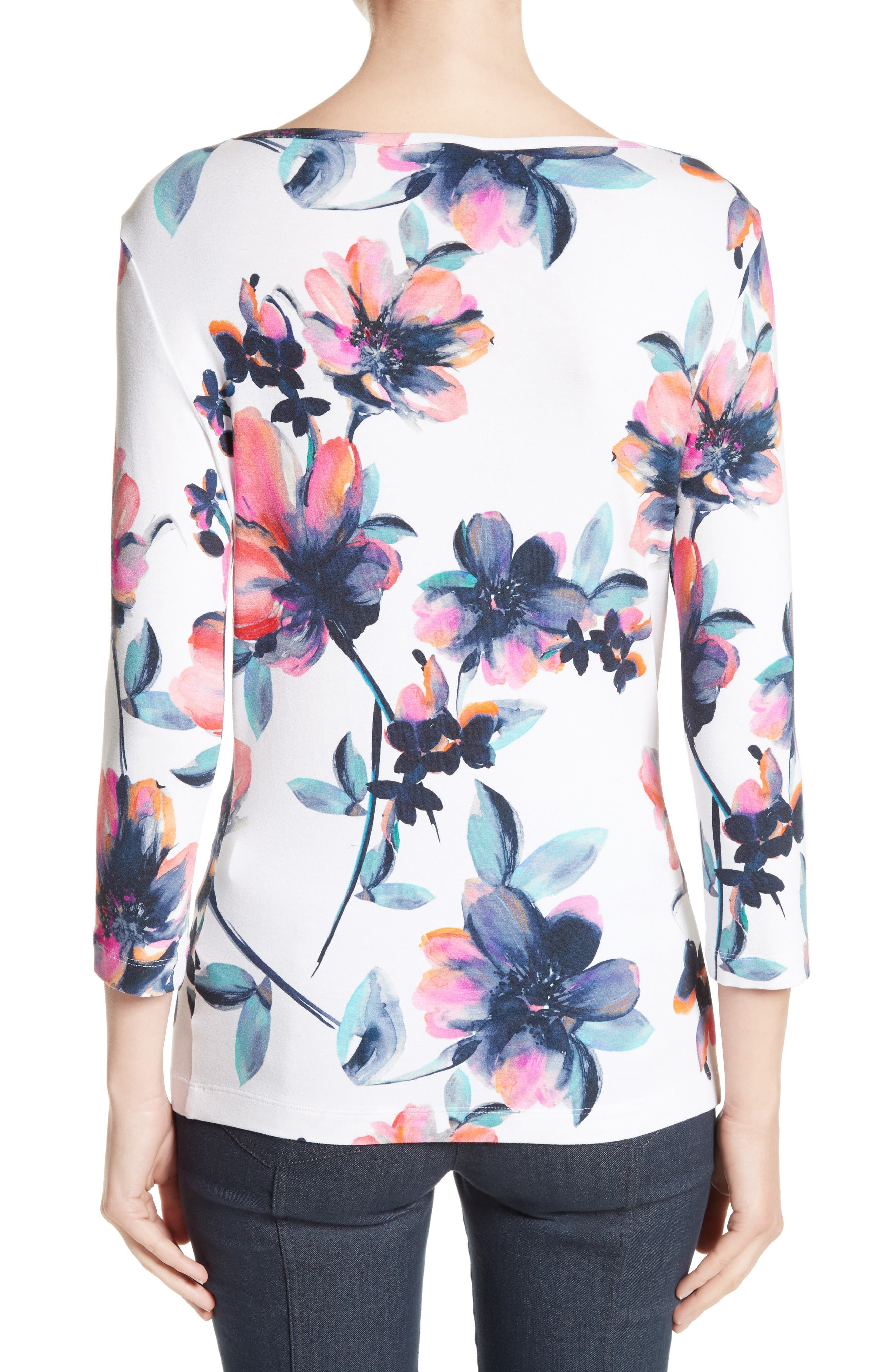 Alternate Image 2  - St. John Collection Naveena Floral Print Top