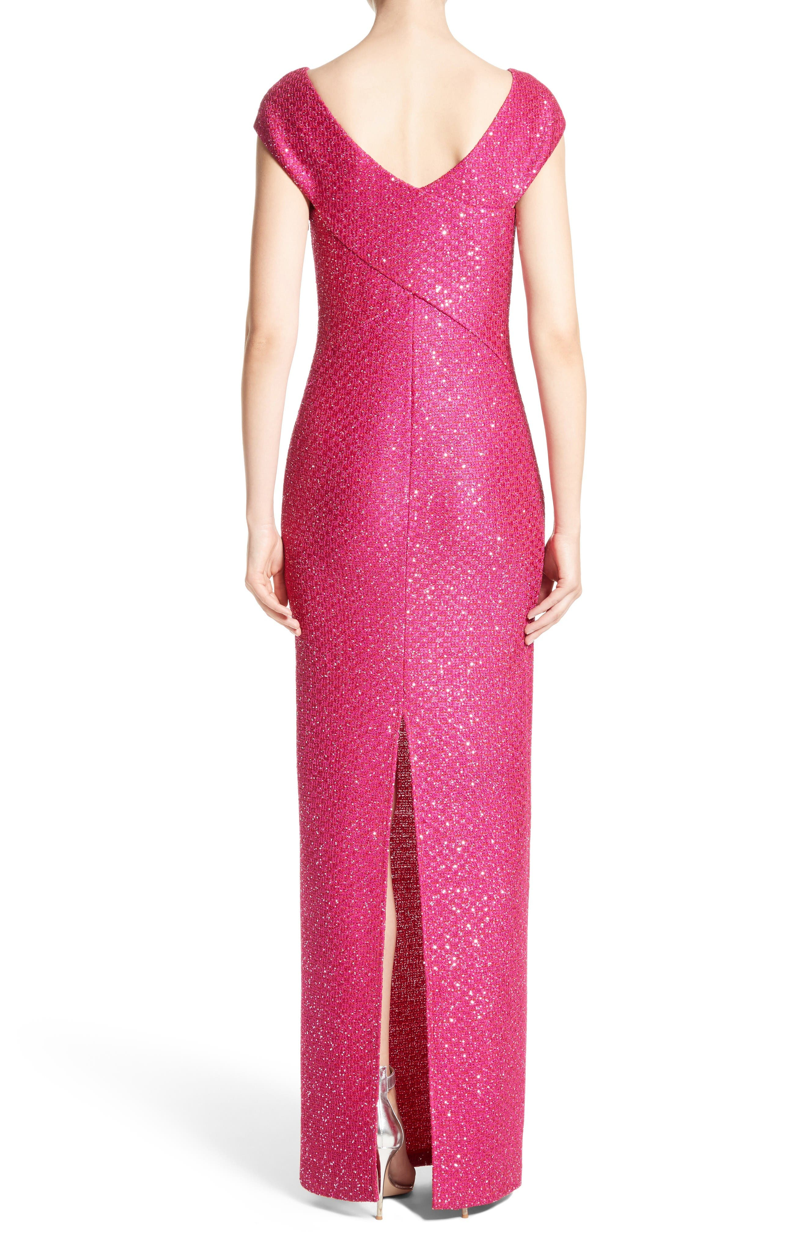 Sequin Knit Column Gown,                             Alternate thumbnail 2, color,                             Scarlet Multi