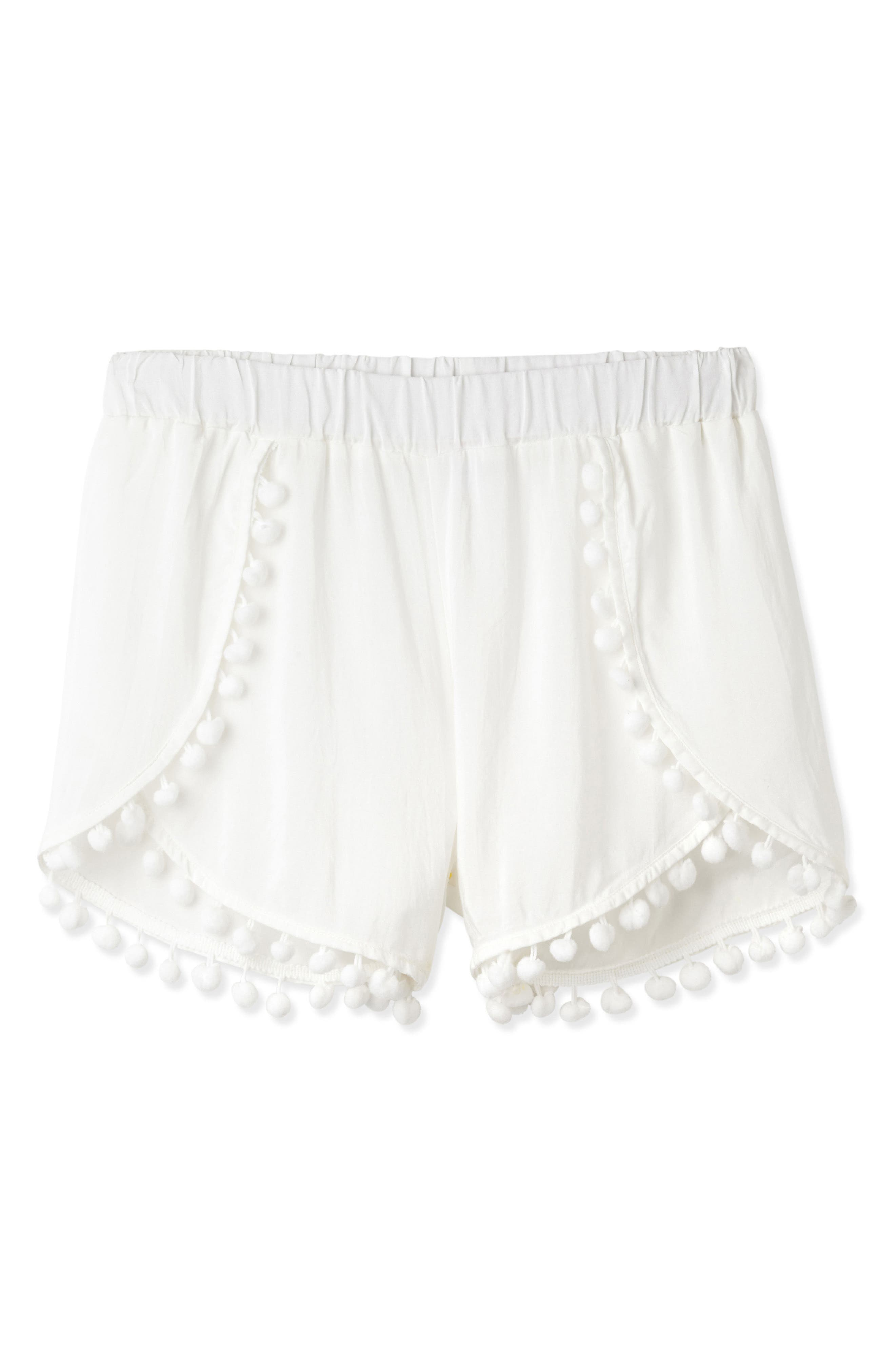 Pompom Cover-Up Shorts,                         Main,                         color, White