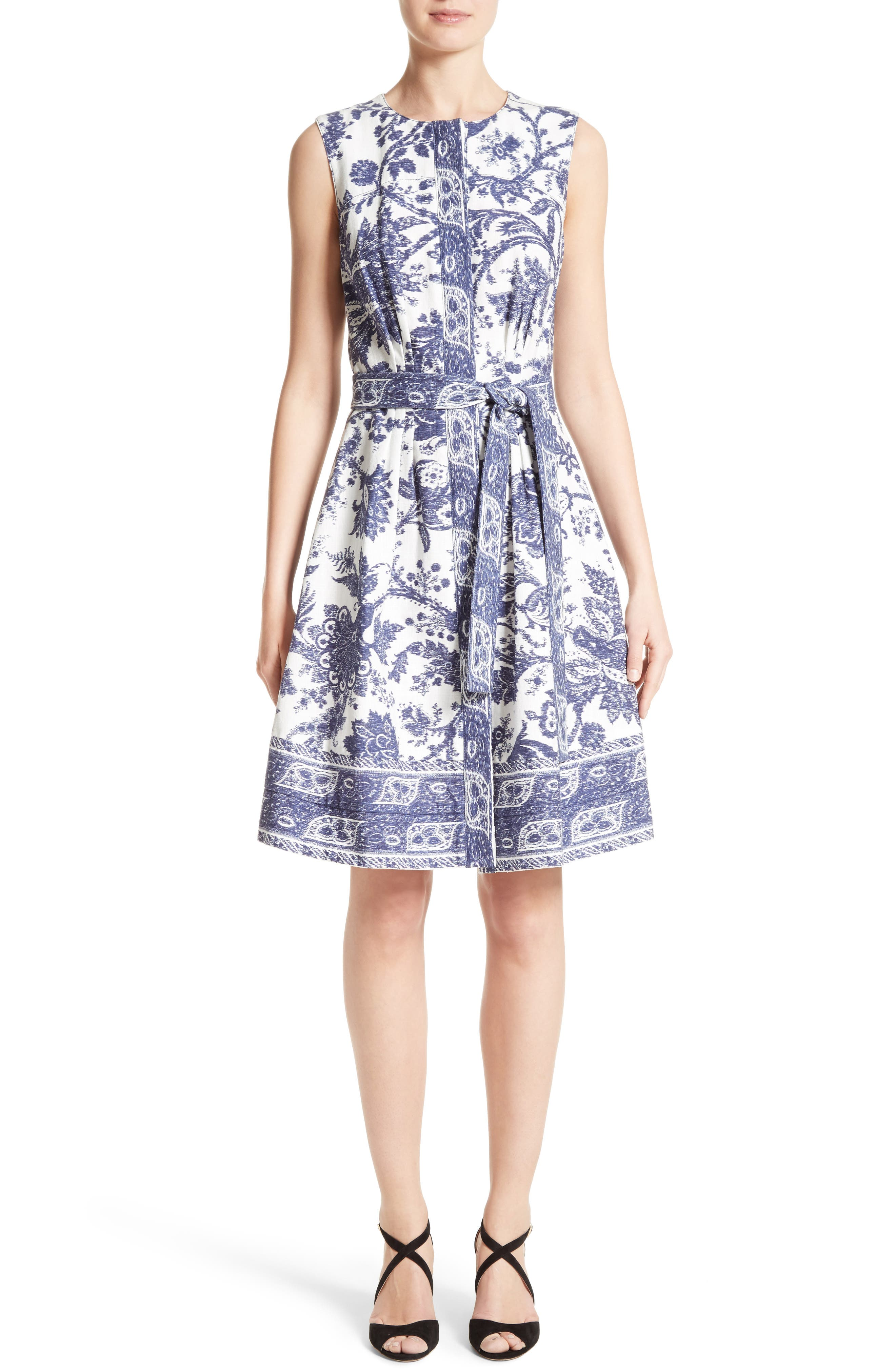 Print Fit & Flare Dress,                         Main,                         color, Ivory/ Navy