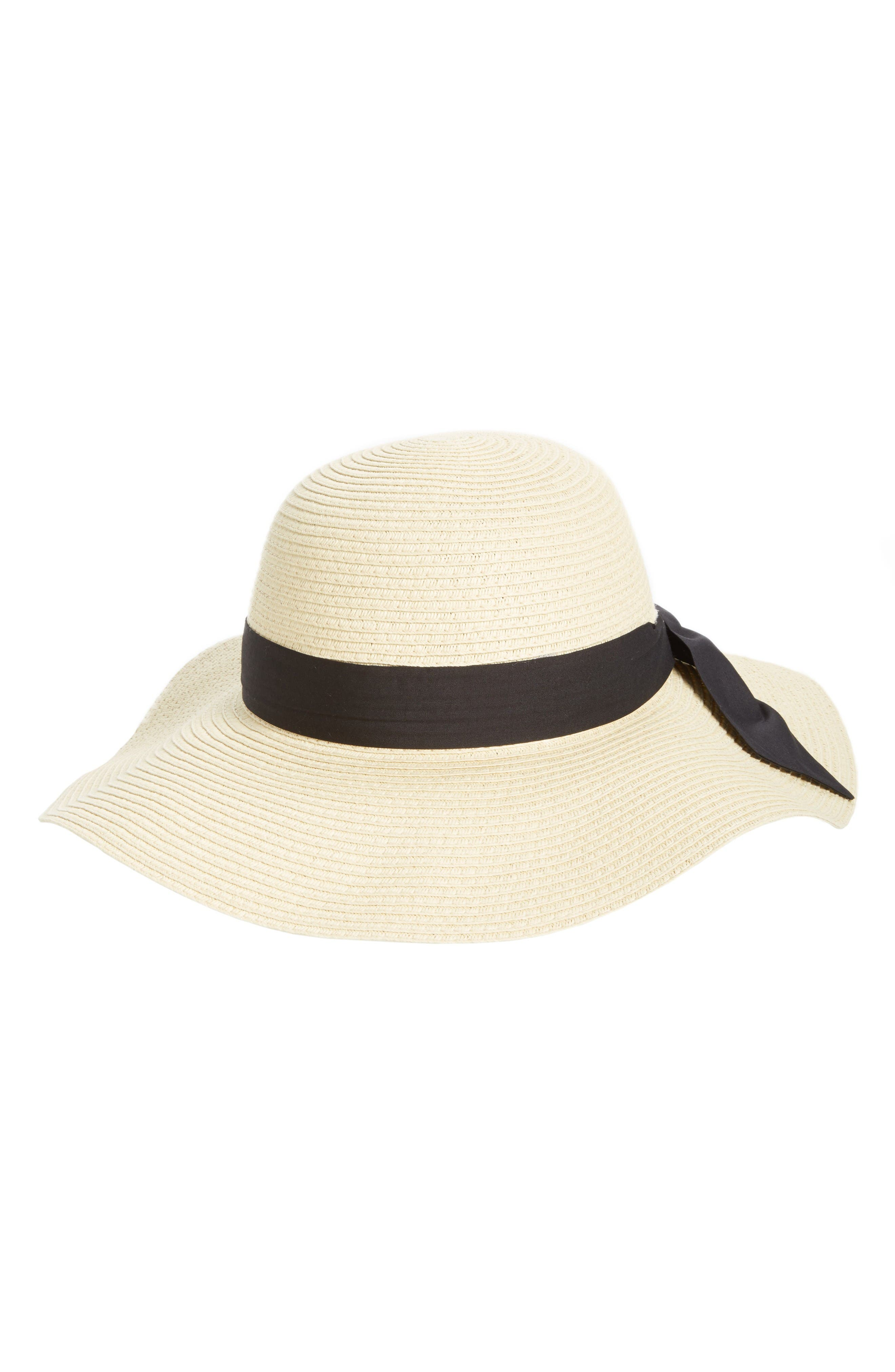 Bow Band Floppy Straw Hat,                             Main thumbnail 1, color,                             Natural/ Black