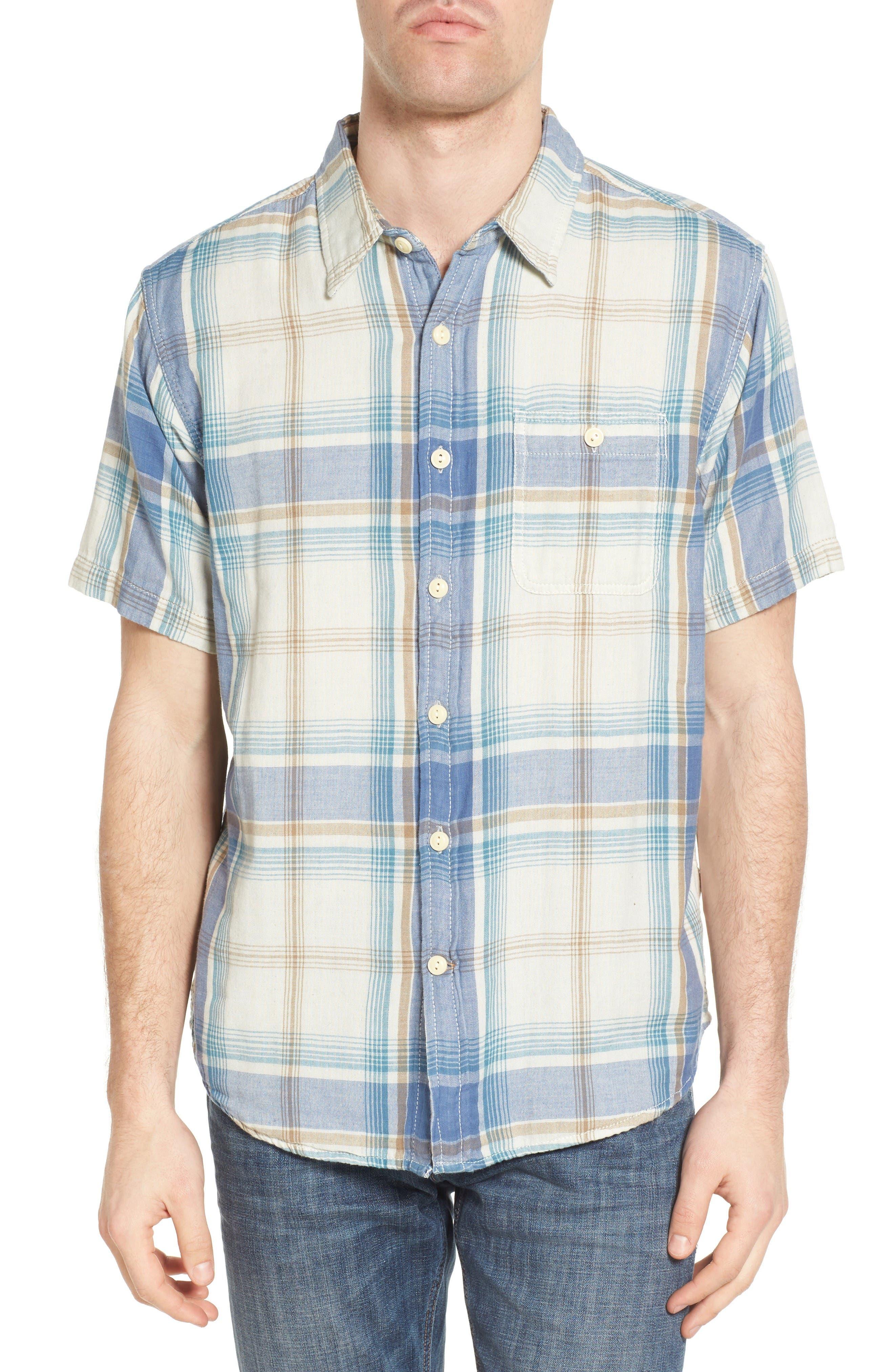 Maverick Plaid Sport Shirt,                         Main,                         color, Blue