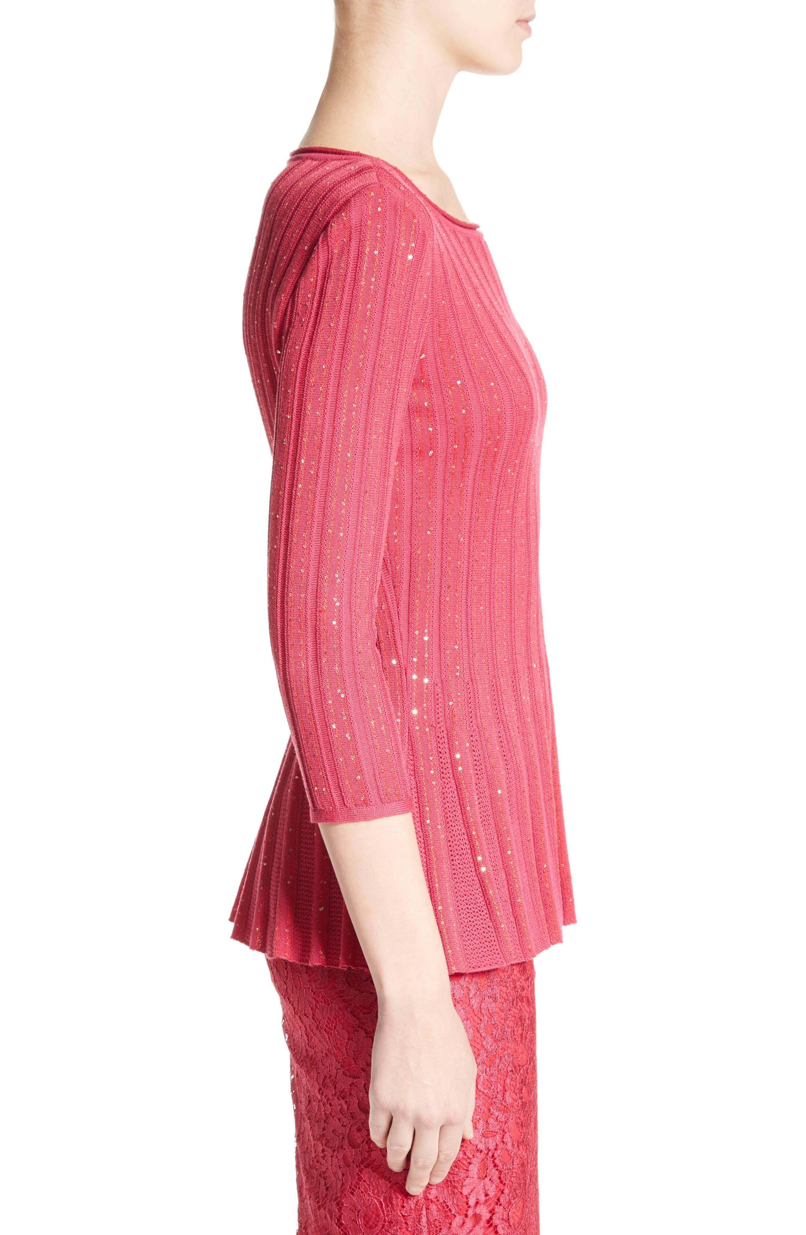 Chriag Sequin Knit Peplum Top,                             Alternate thumbnail 3, color,                             Indian Rose