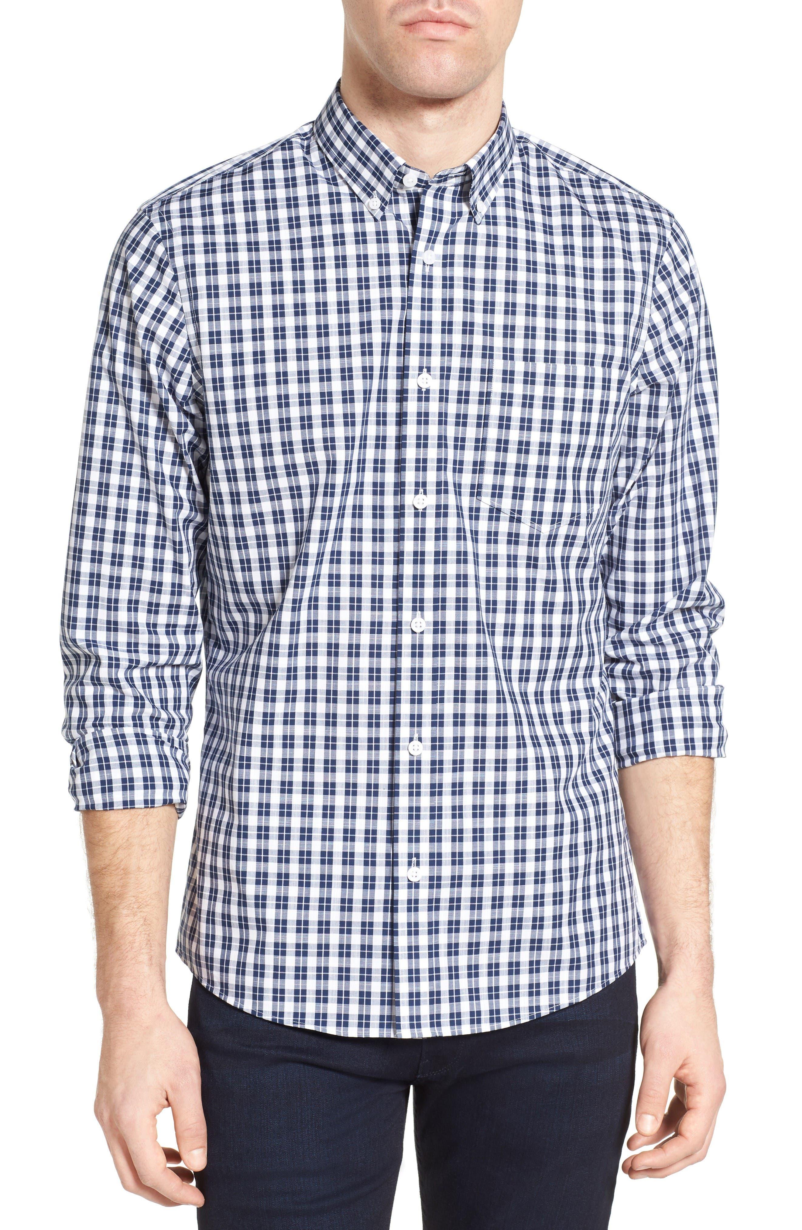 Nordstrom Men's Shop Slim Fit Non-Iron Check Sport Shirt