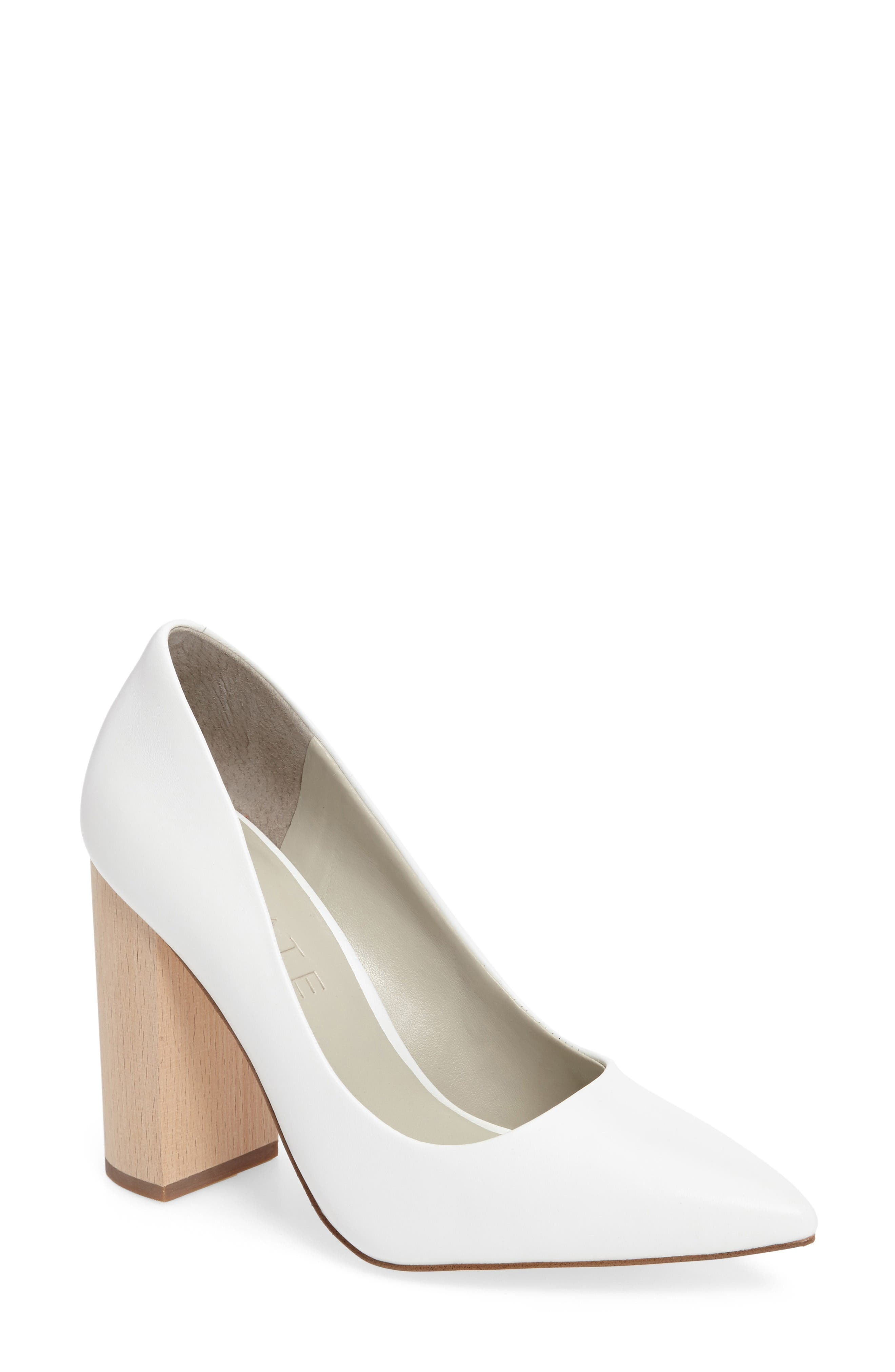 Valencia Block Heel Pump,                         Main,                         color, White Leather