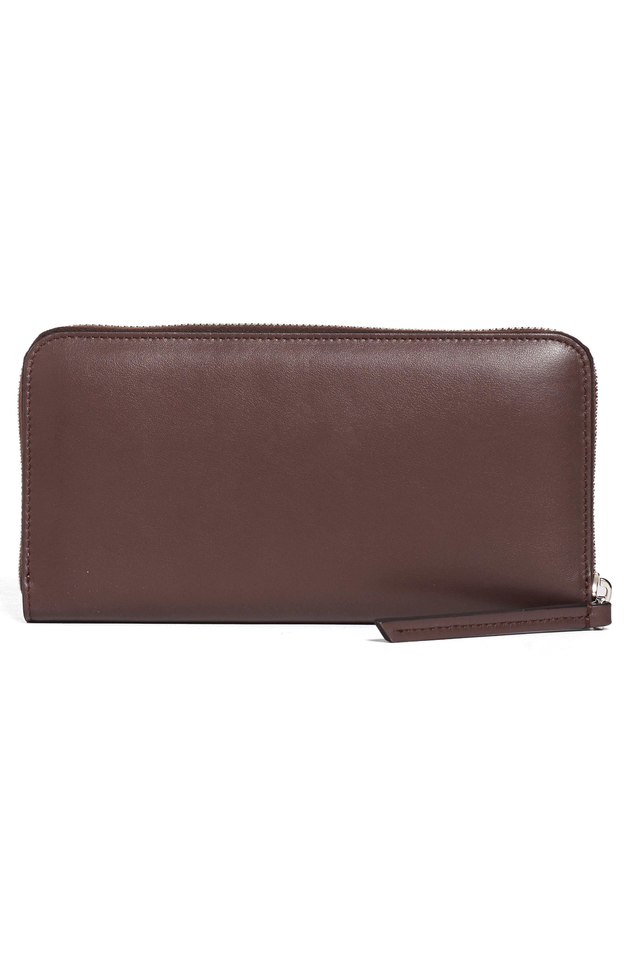 Dotcom Calfskin Leather Clutch Wallet,                             Alternate thumbnail 4, color,                             Red