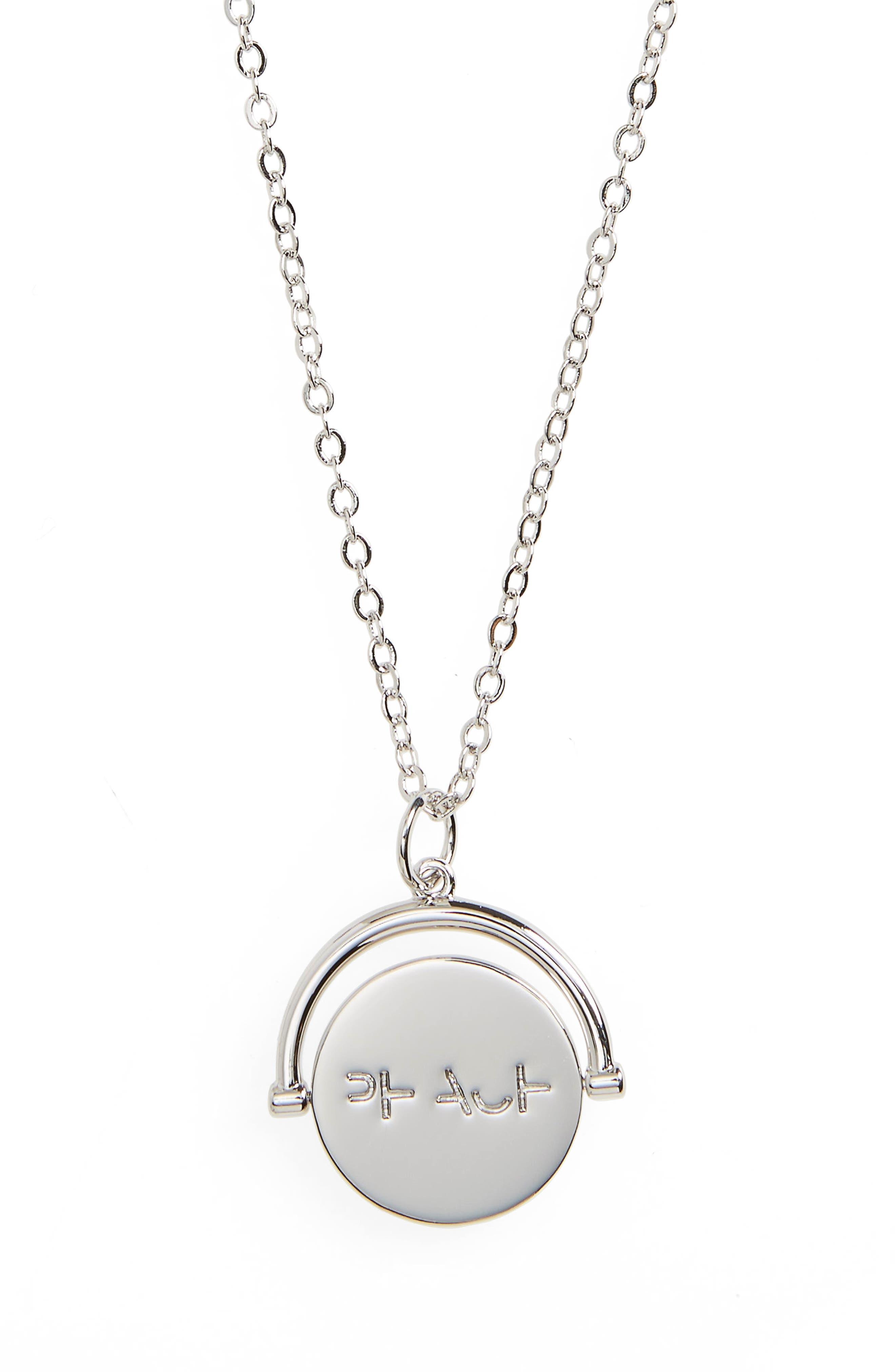 Peace Love Code Charm Necklace,                         Main,                         color, Peace/ Silver