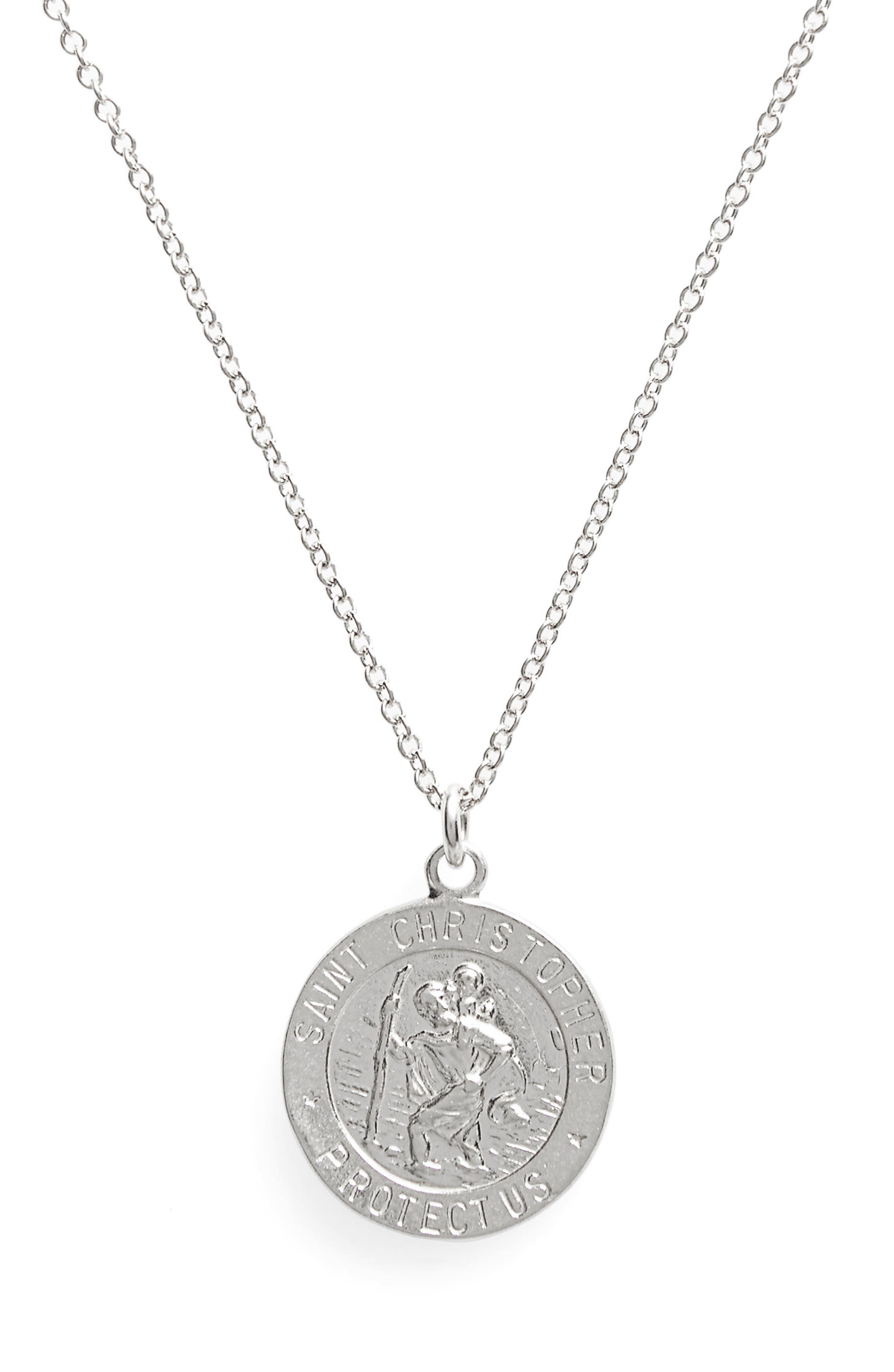 St. Christopher Pendant Necklace,                             Alternate thumbnail 2, color,                             Silver