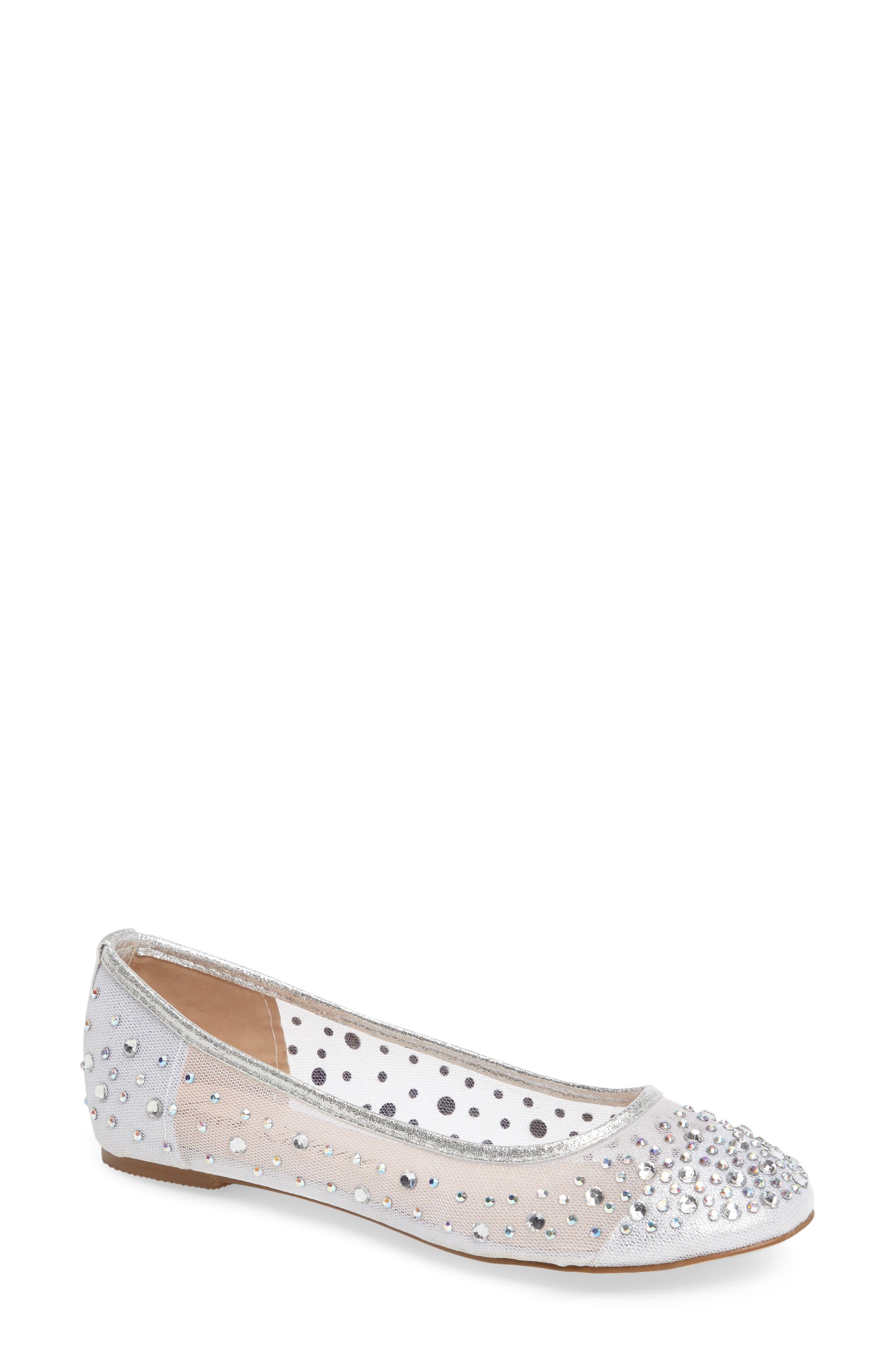 Crystal Embellished Ballet Flat,                         Main,                         color, Silver